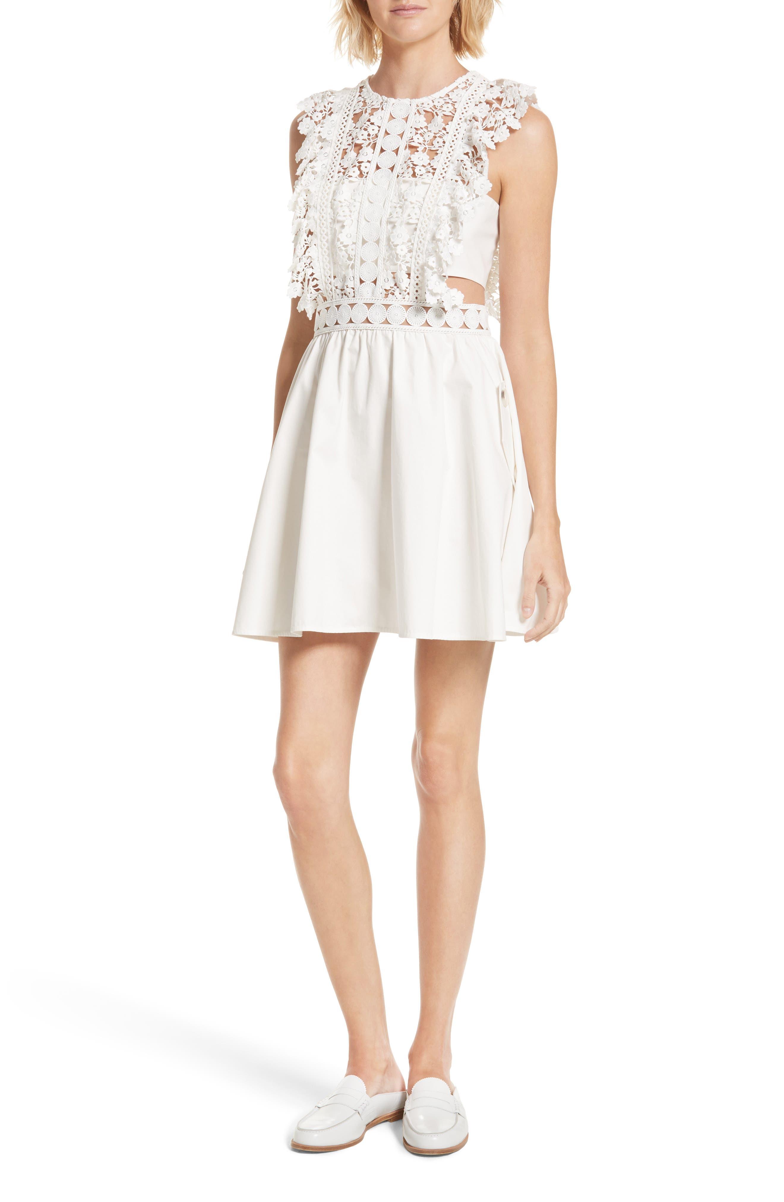 Floral Vine Minidress,                         Main,                         color, White