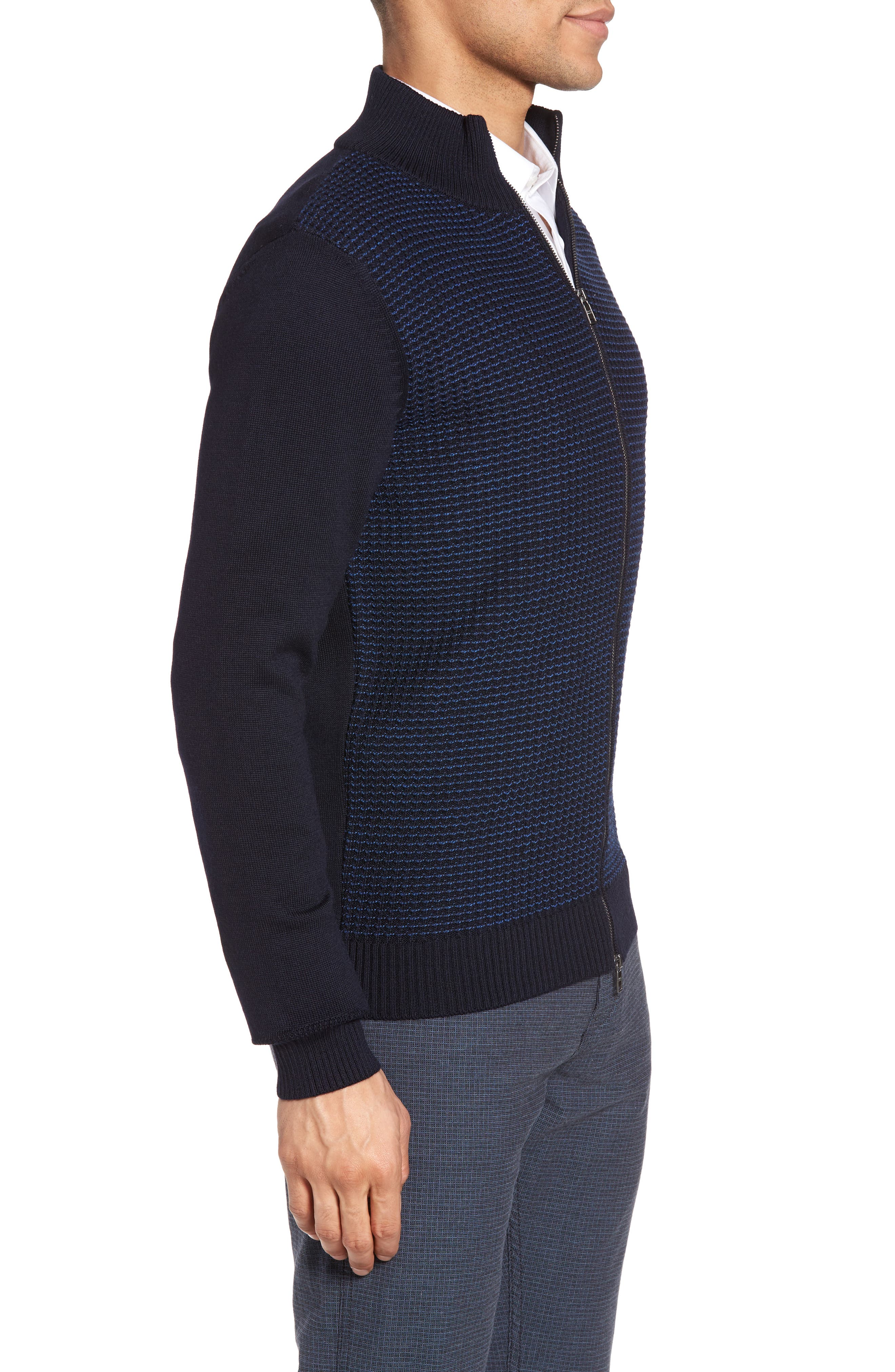 Bacco Full Zip Wool Sweater Jacket,                             Alternate thumbnail 3, color,                             Navy