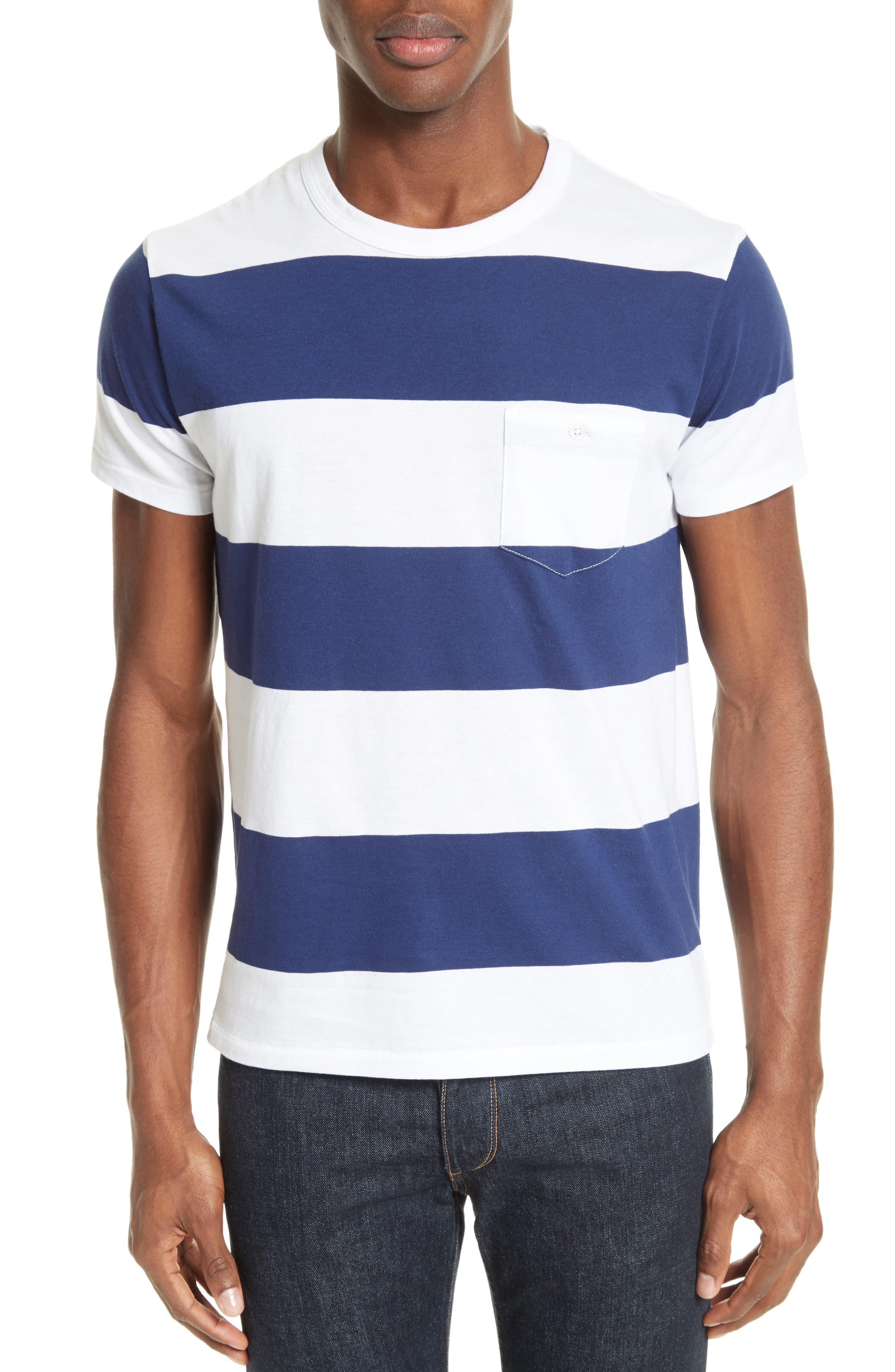Oversize Stripe Pocket T-Shirt,                         Main,                         color, White