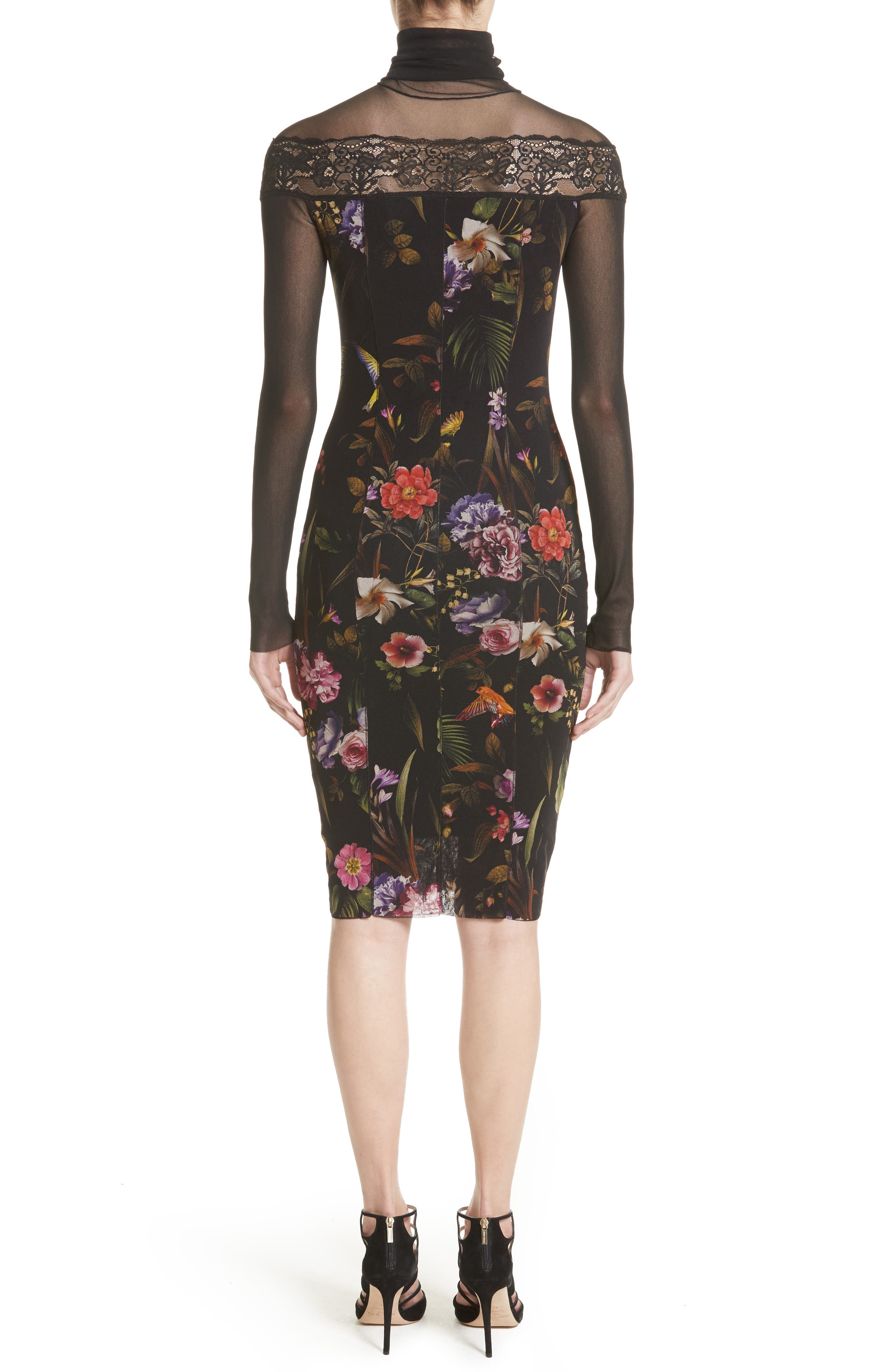 Tulle Turtleneck Sheath Dress,                             Alternate thumbnail 2, color,                             Nero