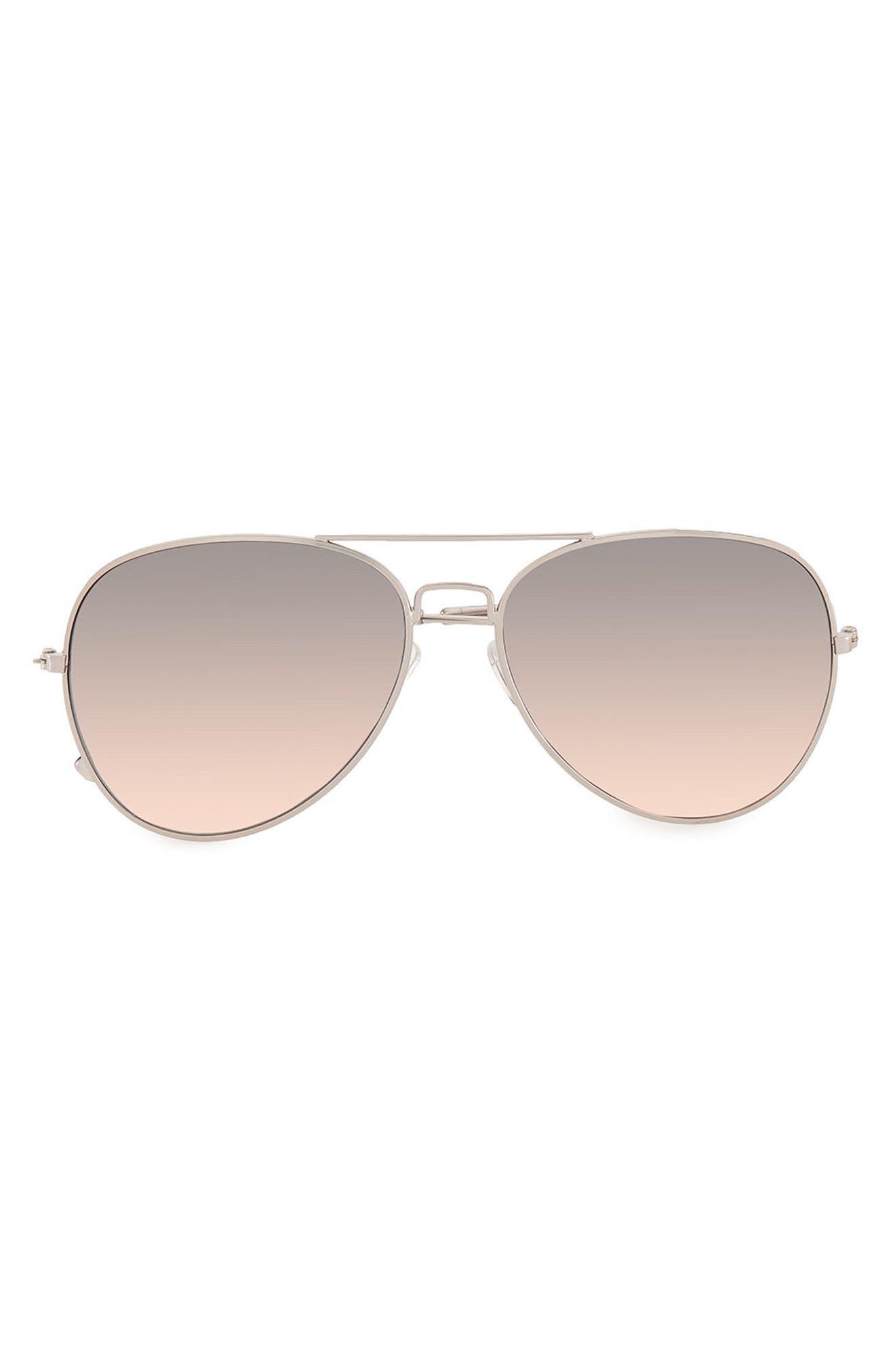 58mm Mirrored Aviator Sunglasses,                         Main,                         color, Metallic Silver
