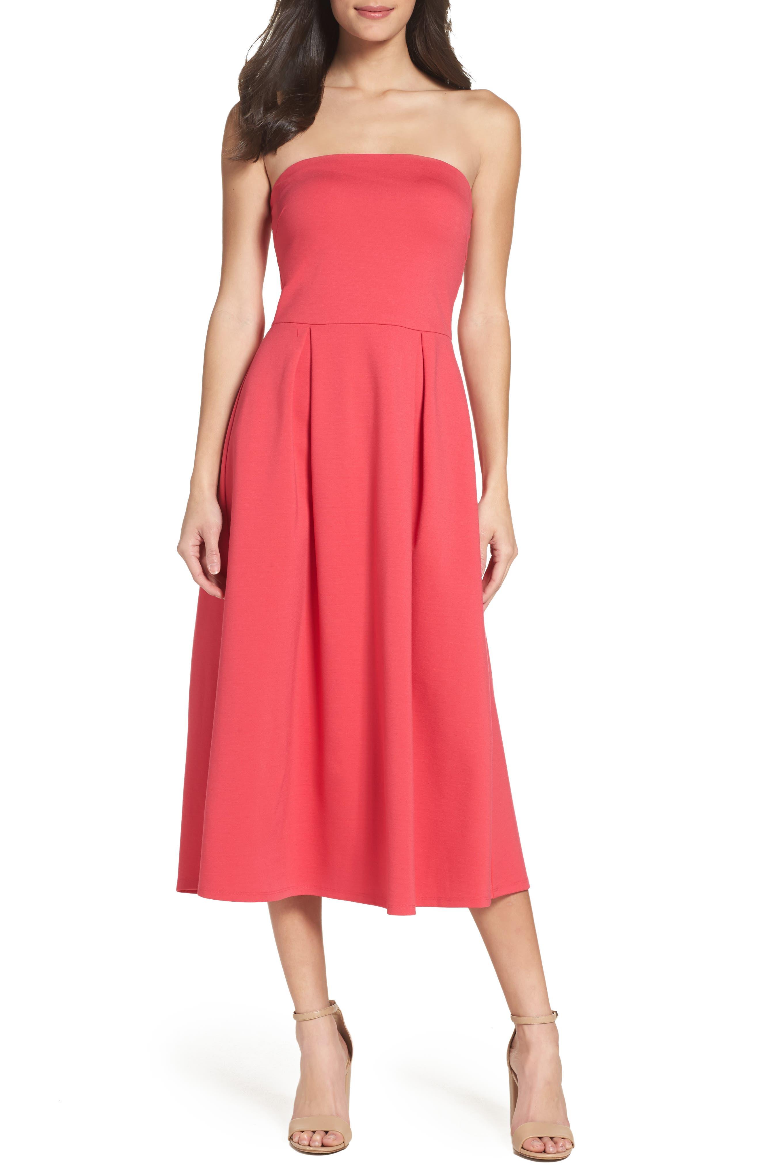 Main Image - Charles Henry Strapless Midi Dress