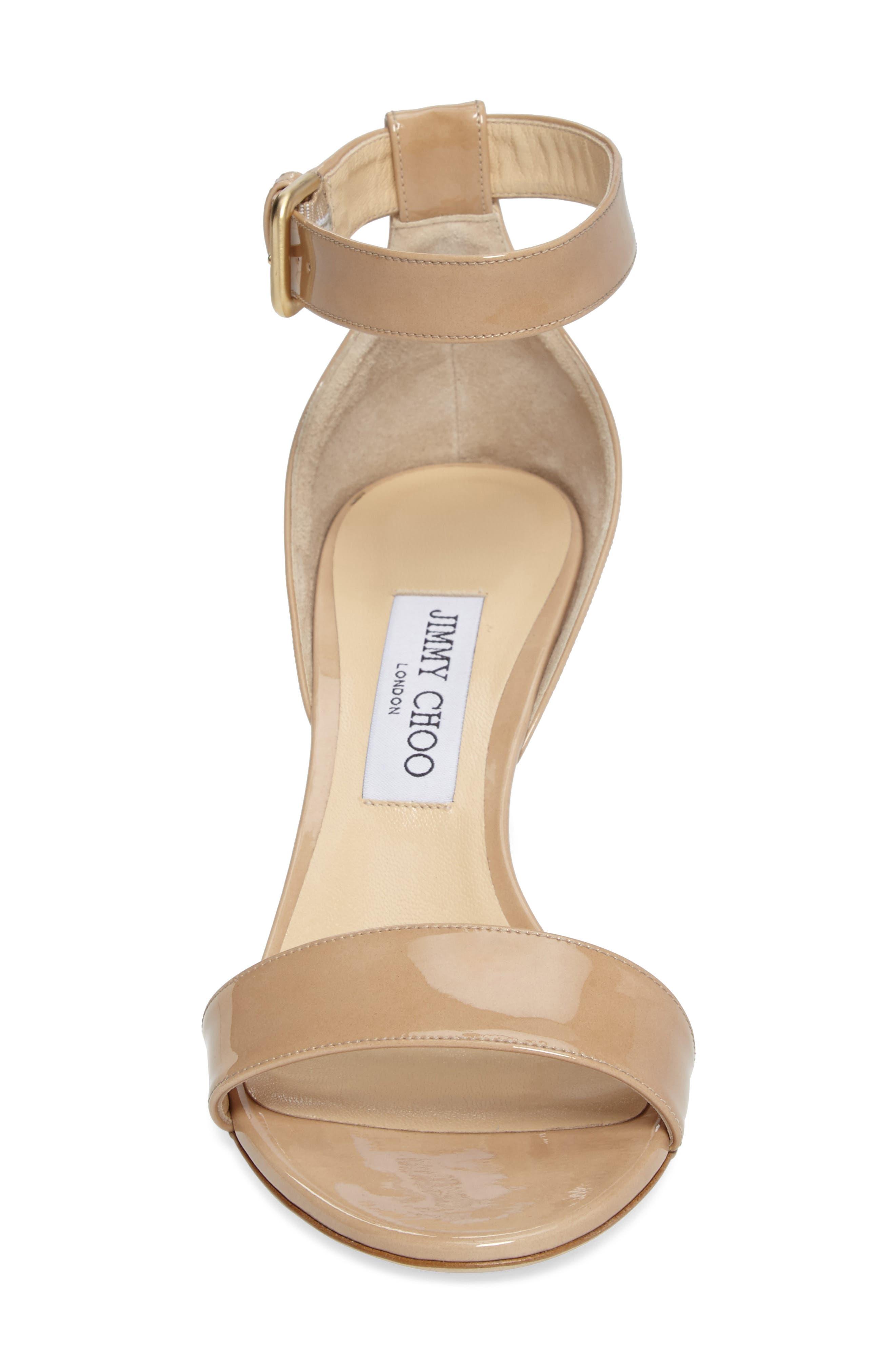 Edina Ankle Strap Sandal,                             Alternate thumbnail 4, color,                             Nude Patent