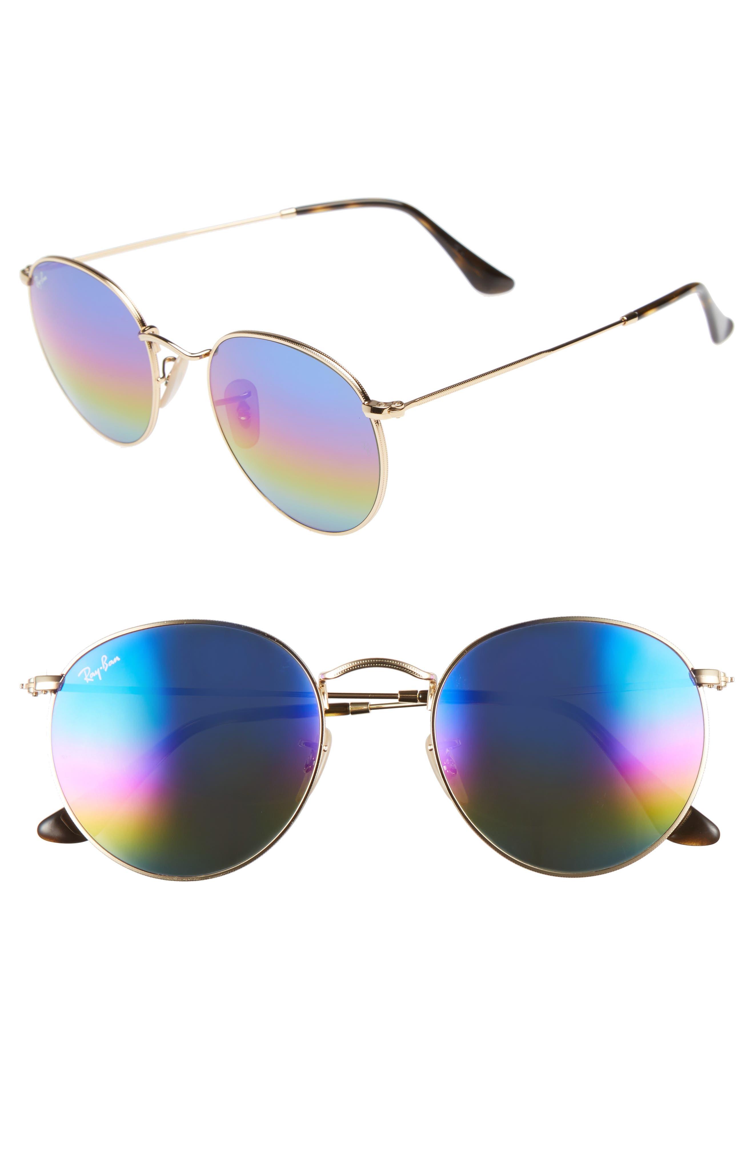 53mm Round Sunglasses,                         Main,                         color, Blue/ Multi