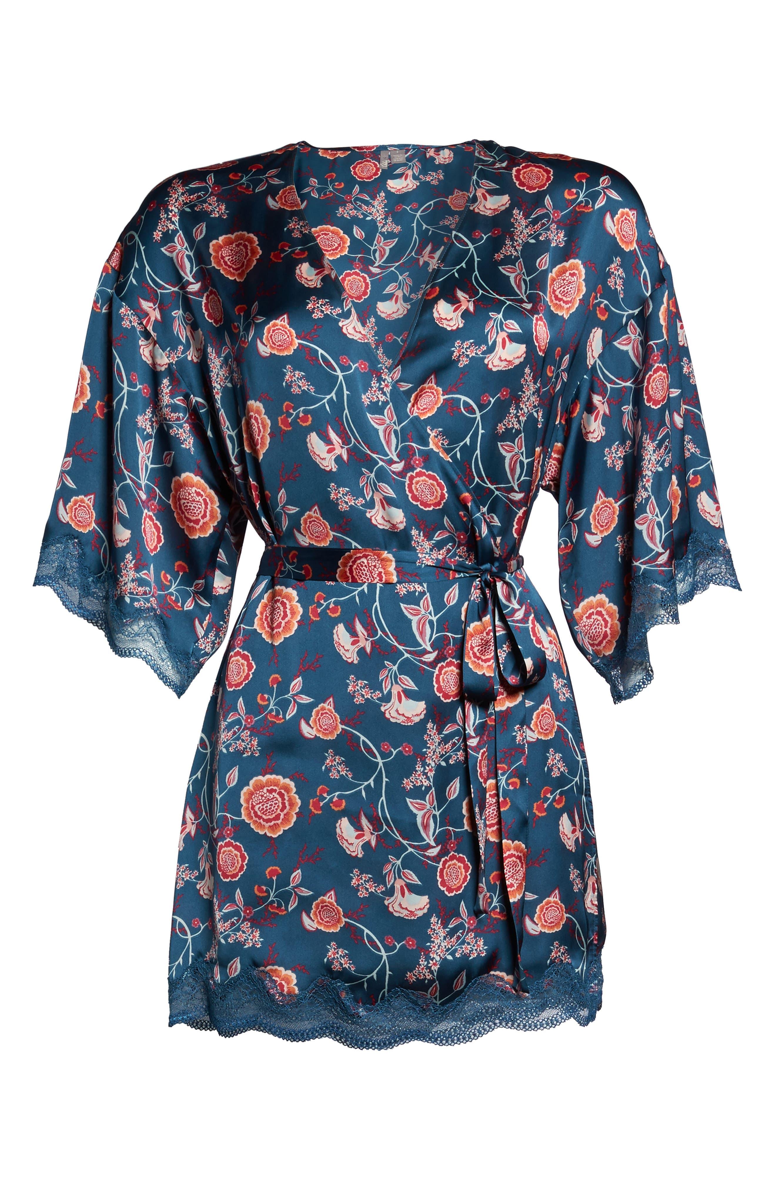 Floral Print Satin Kimono,                             Alternate thumbnail 4, color,                             Blue Ceramic Vintage Floral