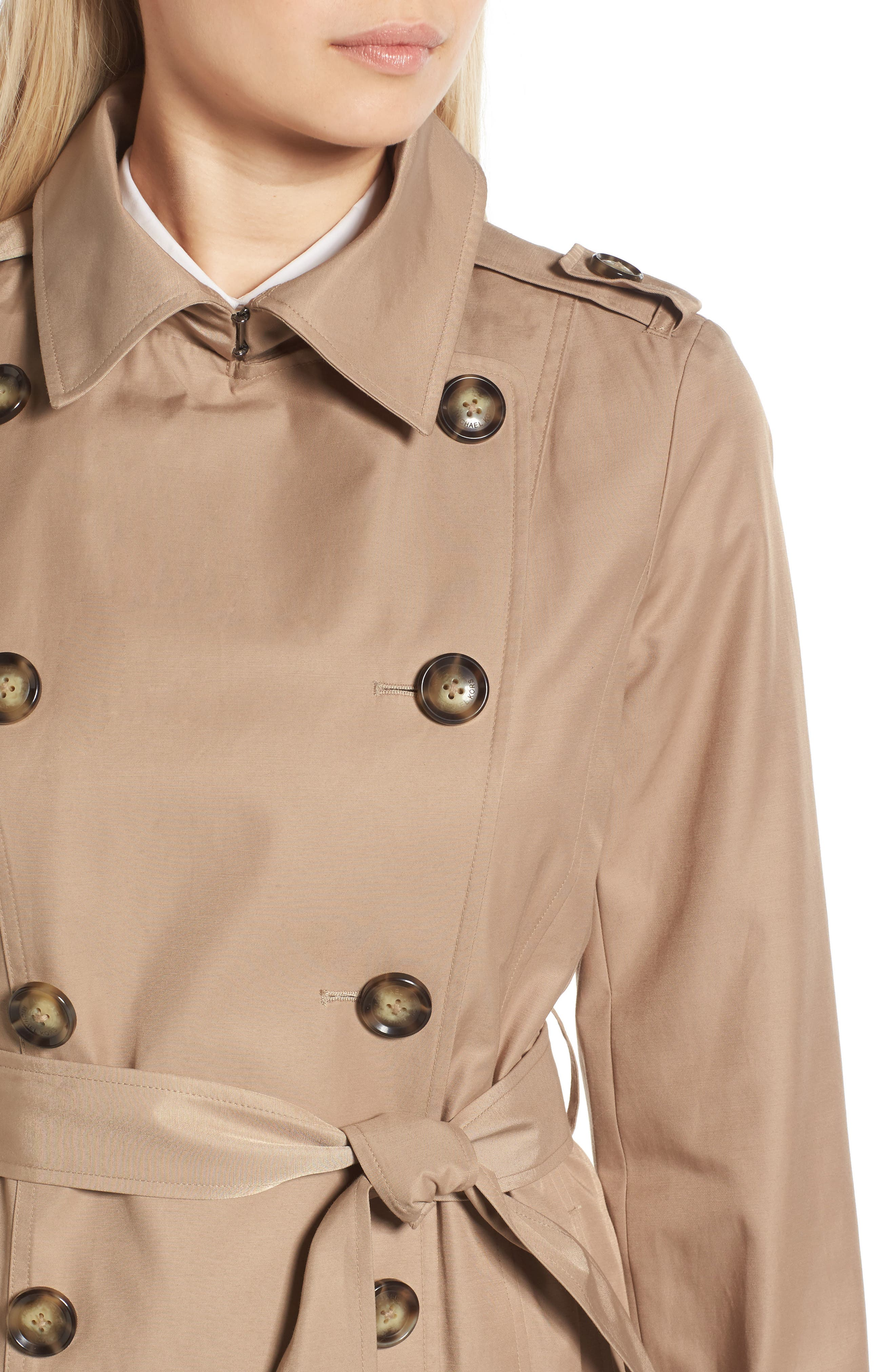 Alternate Image 4  - MICHAEL Michael Kors Double Breasted Skirted Trench Coat