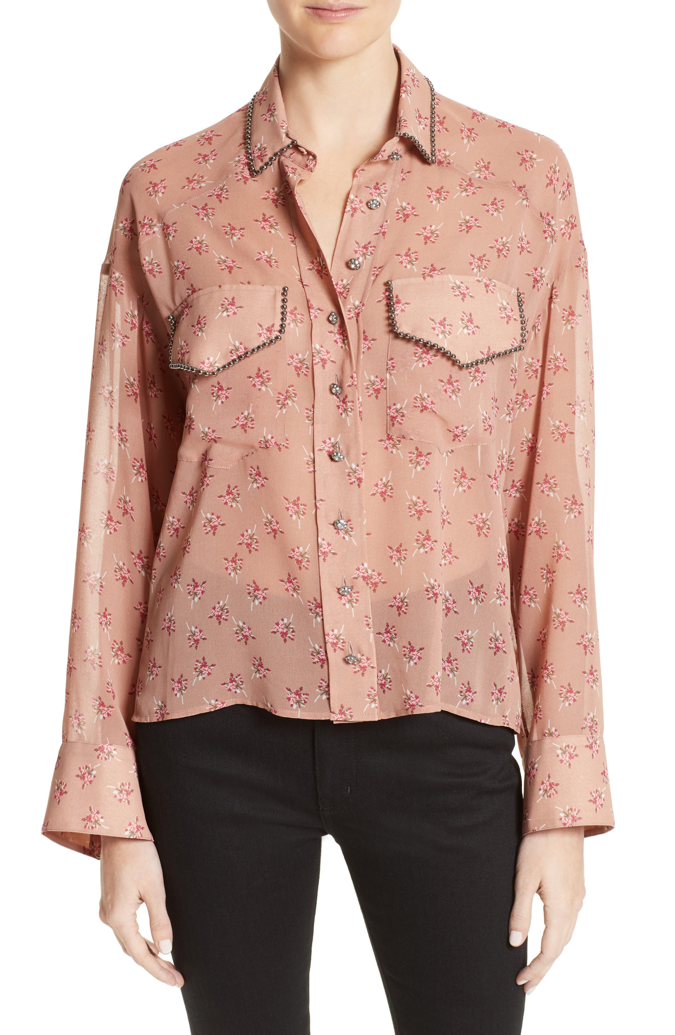 Metal Detail Print Mousseline Shirt,                         Main,                         color, Pink
