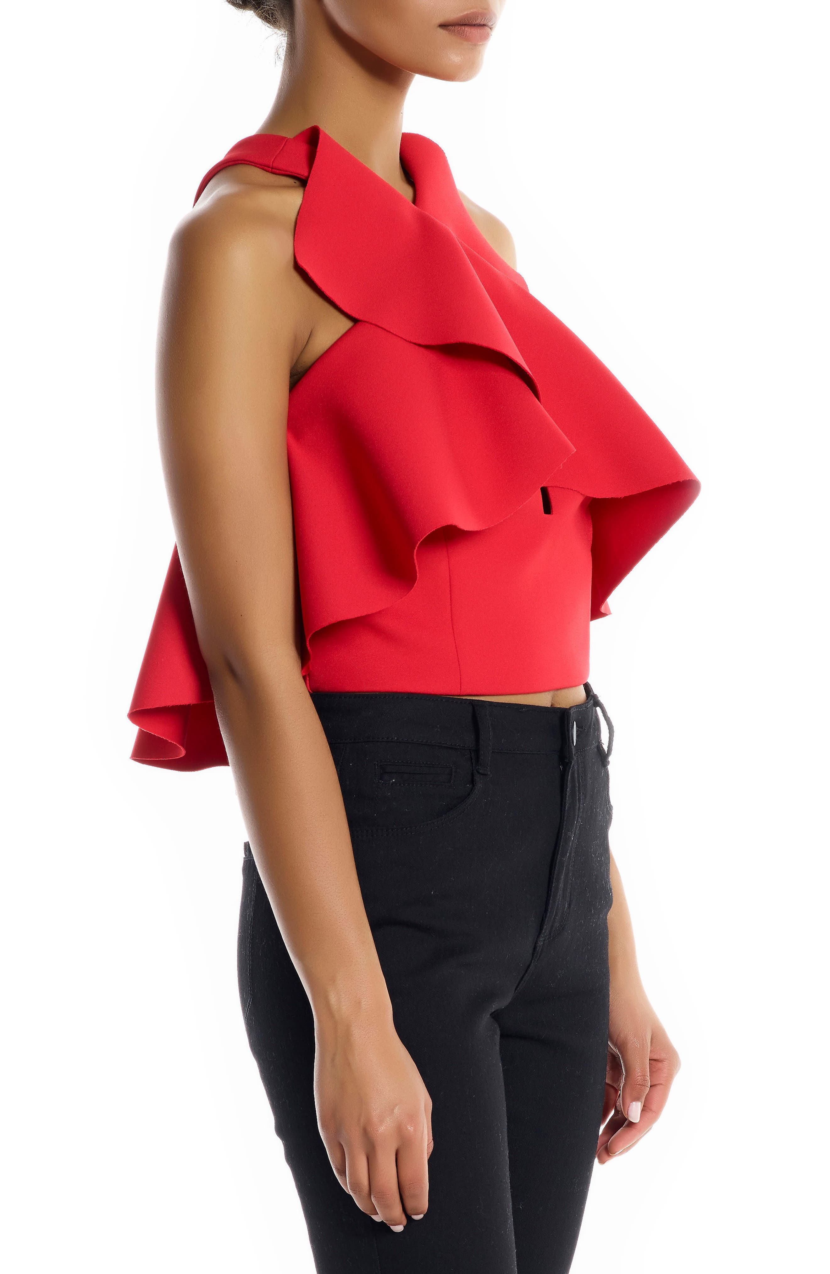 Overlap Ruffle Crop Top,                             Alternate thumbnail 3, color,                             Bright Red
