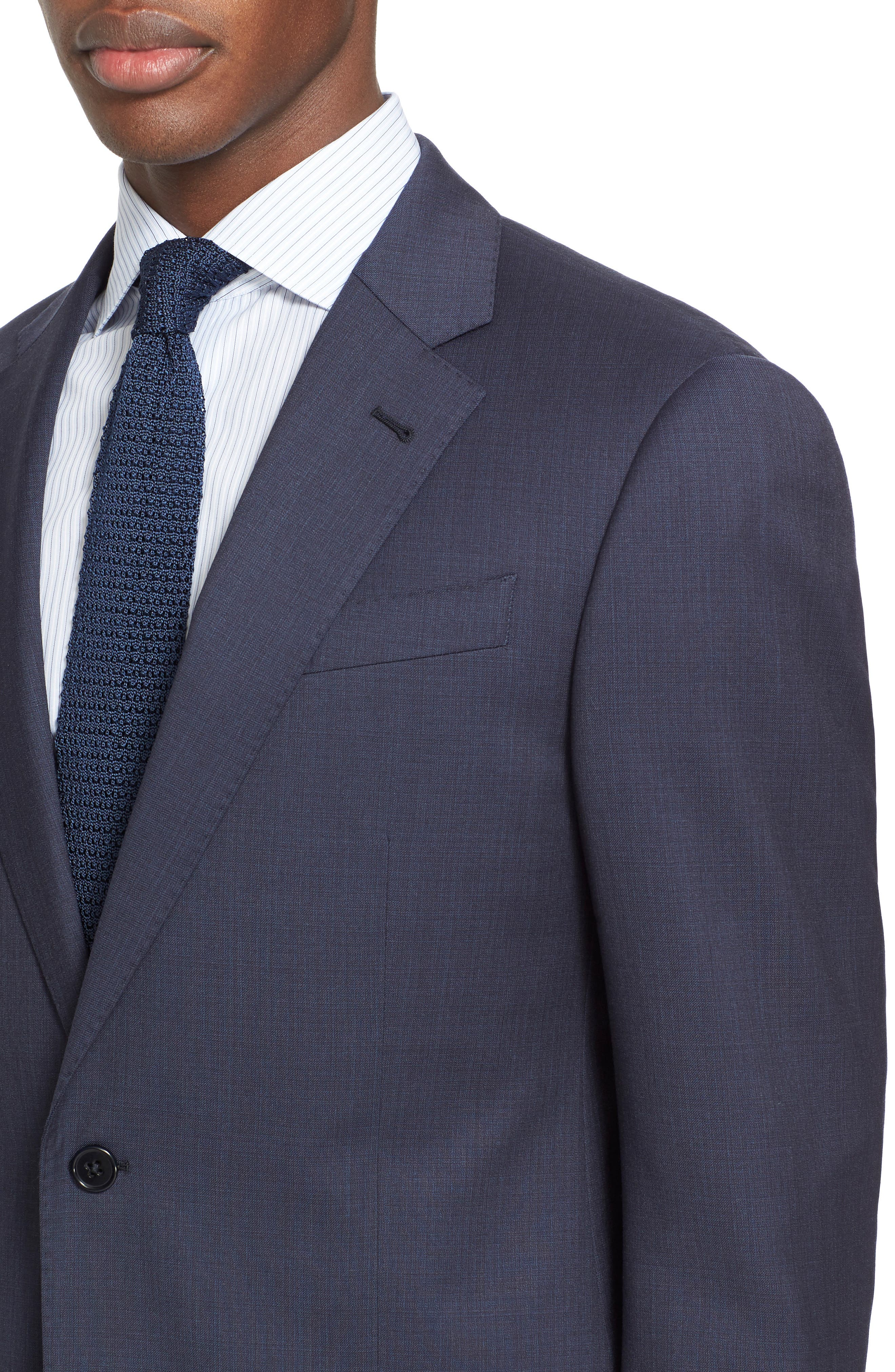Trim Fit Solid Wool Suit,                             Alternate thumbnail 4, color,                             Navy