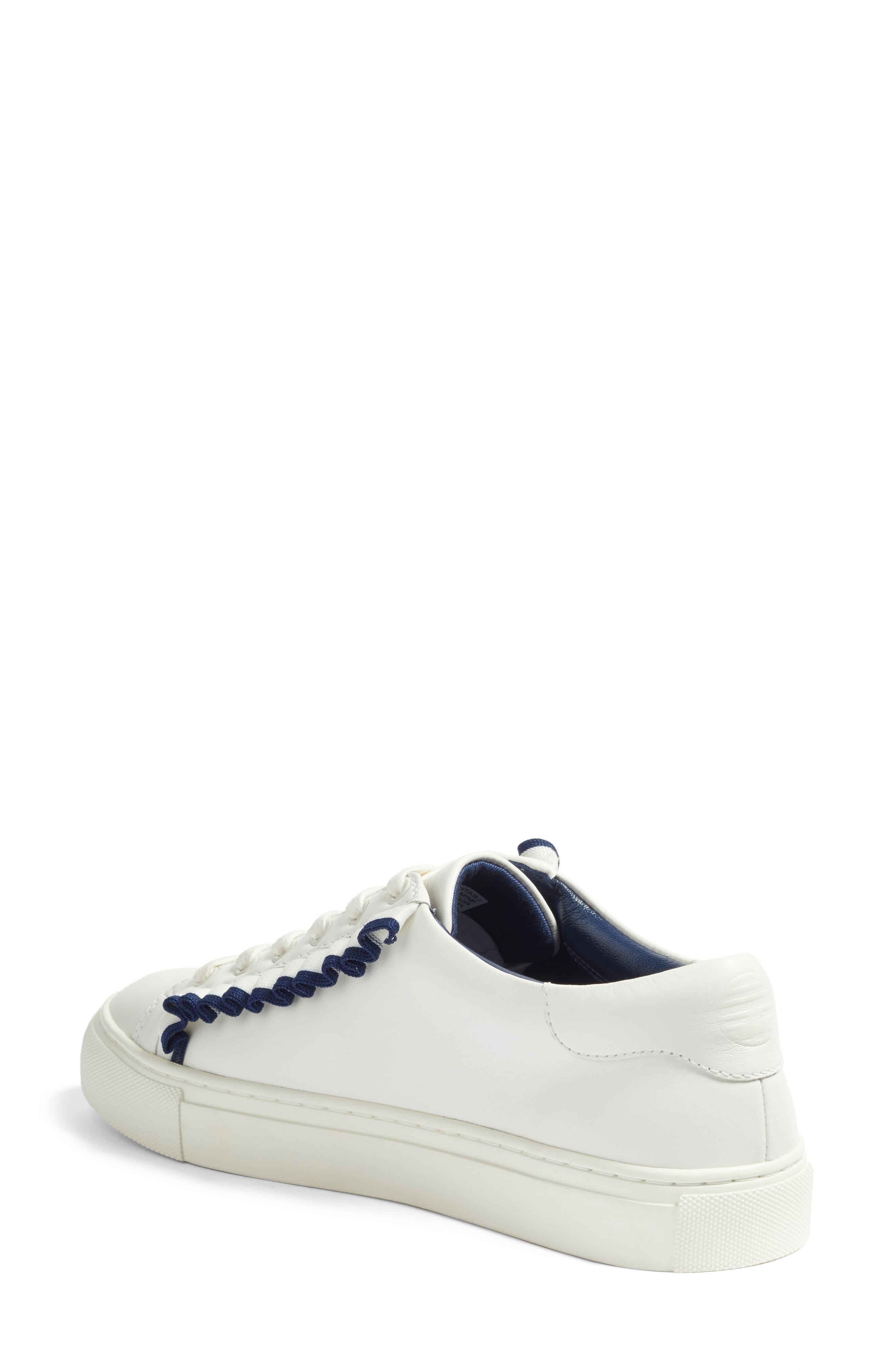 Ruffle Sneaker,                             Alternate thumbnail 2, color,                             Snow White/ Navy Sea