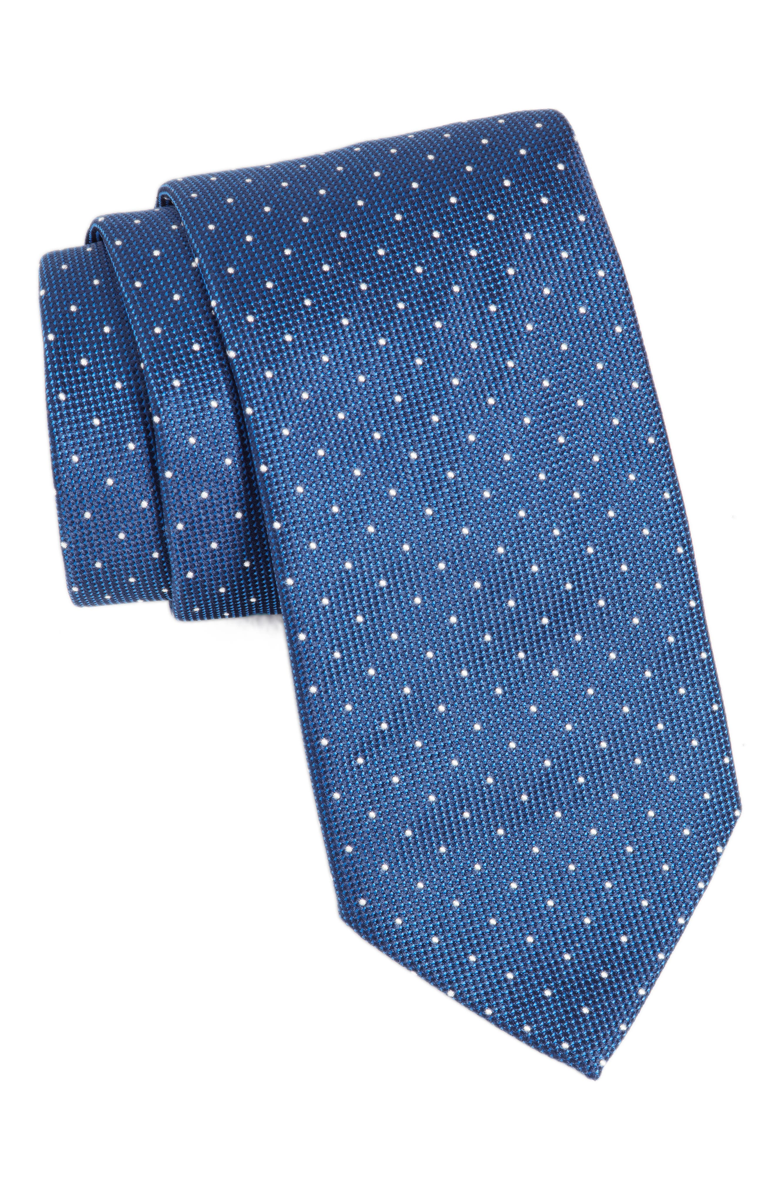 Dot Silk Tie,                             Main thumbnail 1, color,                             Turquoise/ Aqua