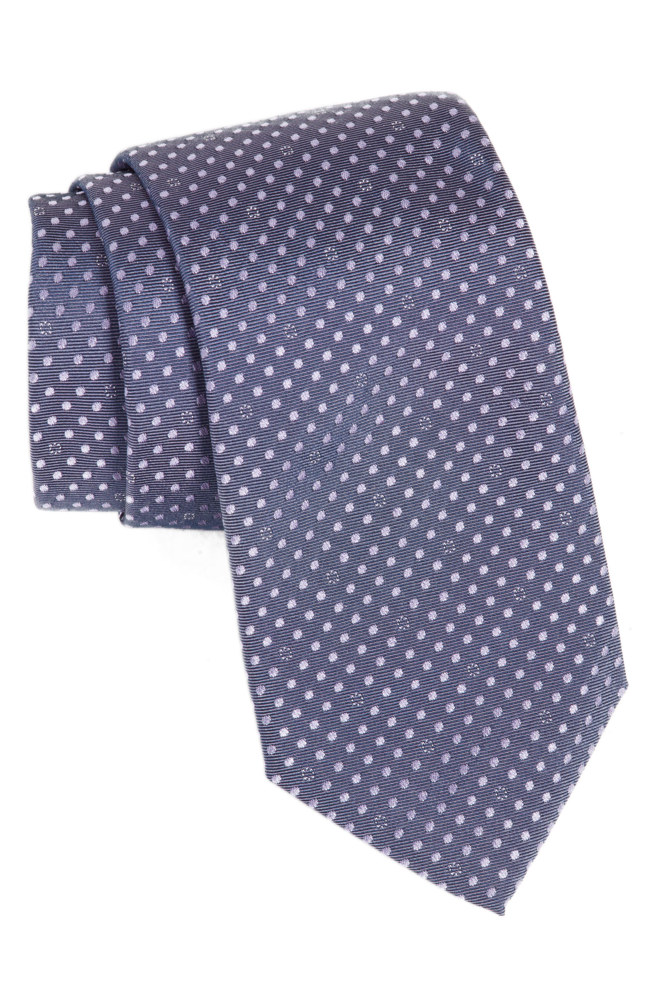 Dot Silk Tie,                         Main,                         color, Light Pastel/ Purple