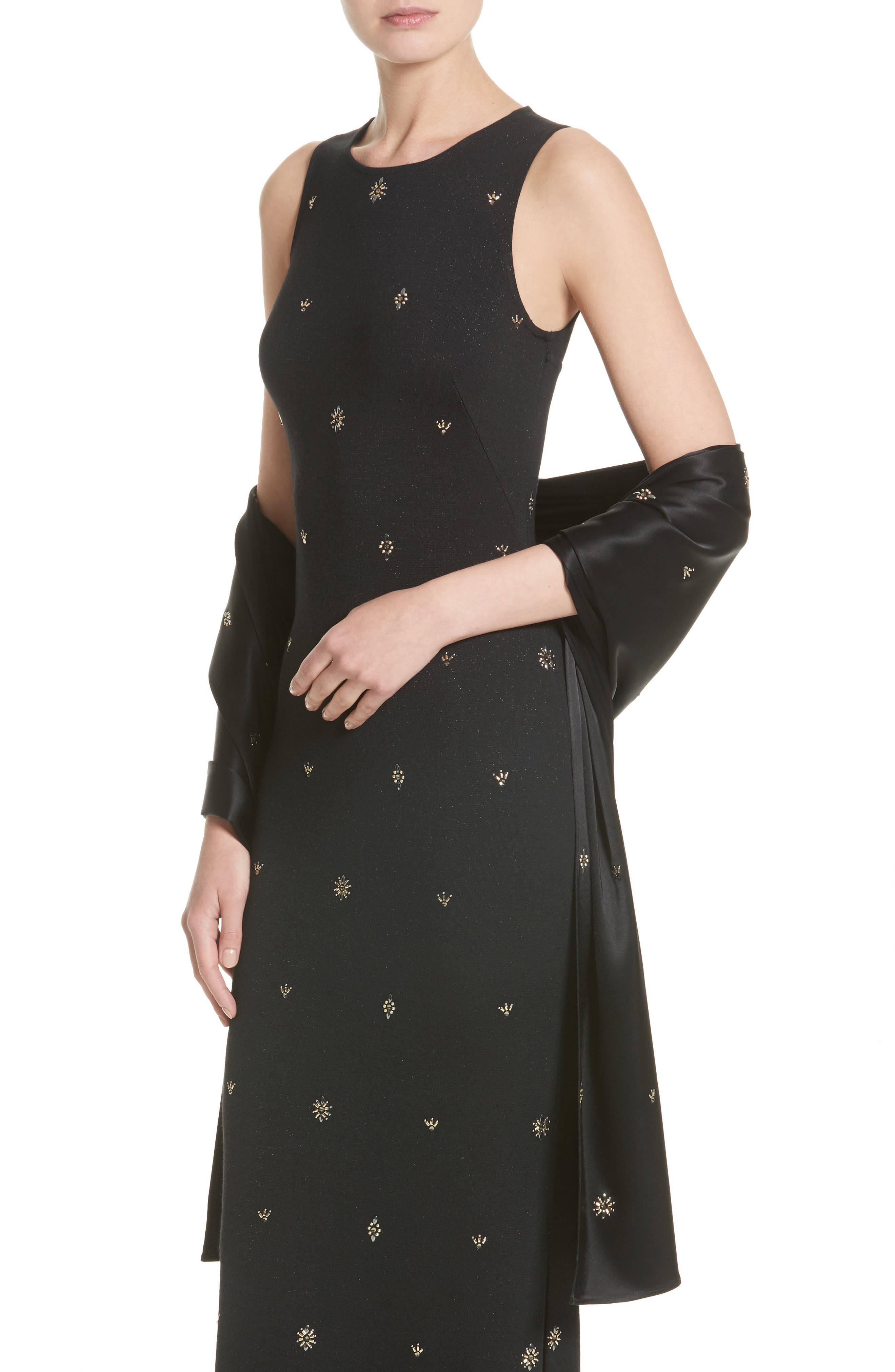 Back Keyhole Shimmer Milano Knit Gown,                             Alternate thumbnail 7, color,                             Caviar