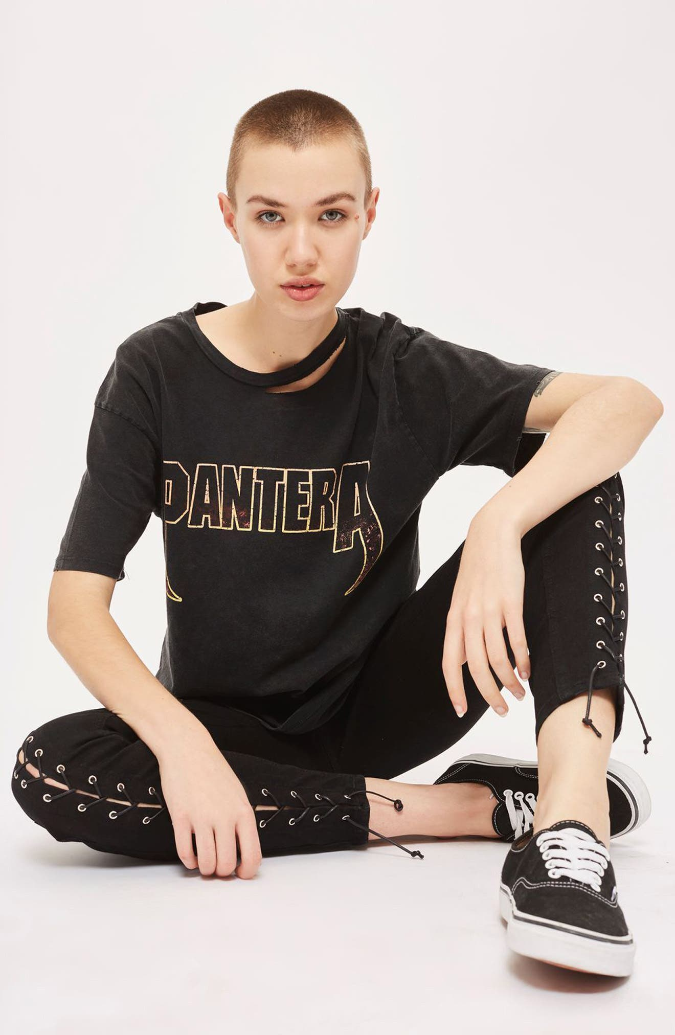 Jamie Front Laced Skinny Jeans,                             Alternate thumbnail 2, color,                             Black
