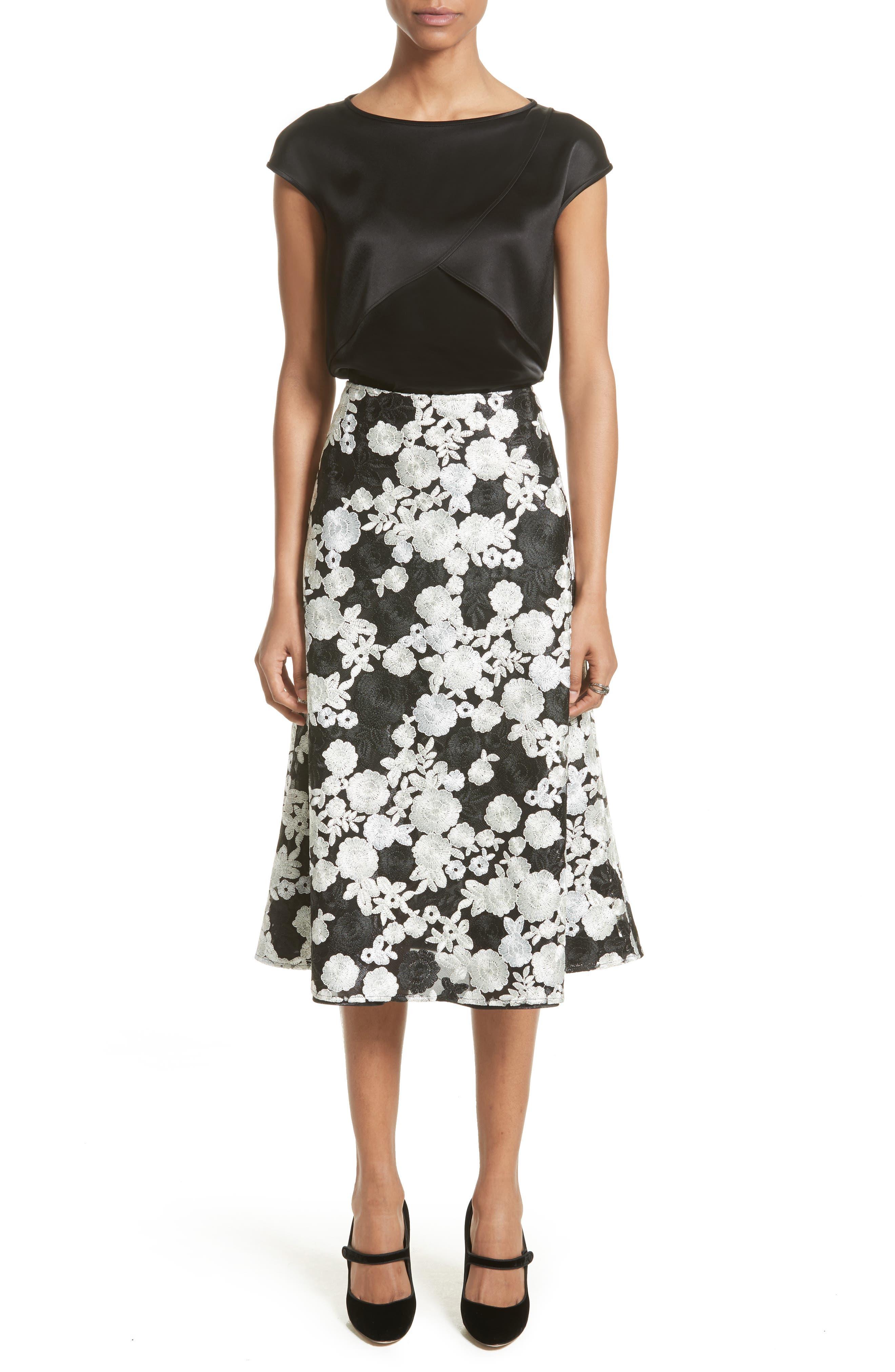 St. John Floral Embroidered Flared Skirt,                             Alternate thumbnail 8, color,                             Caviar Multi