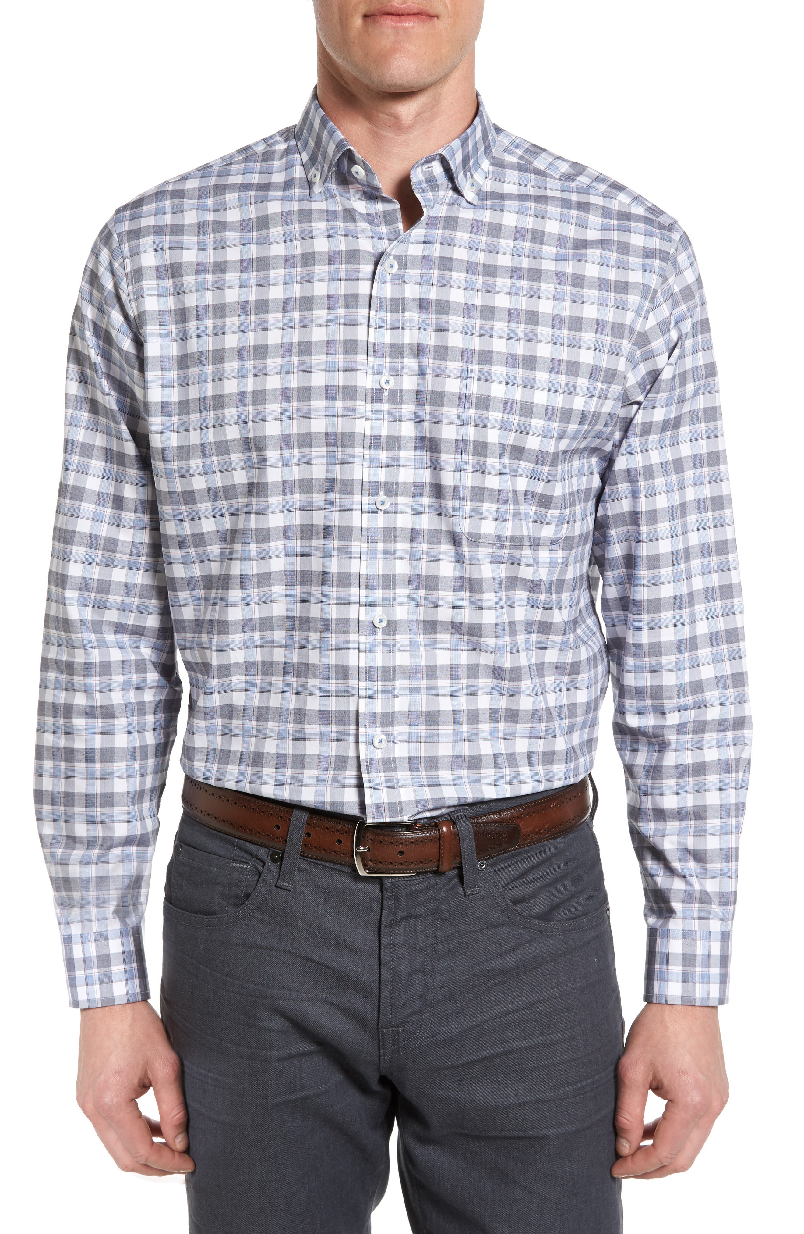 Maker & Company Tailored Fit Windowpane Sport Shirt