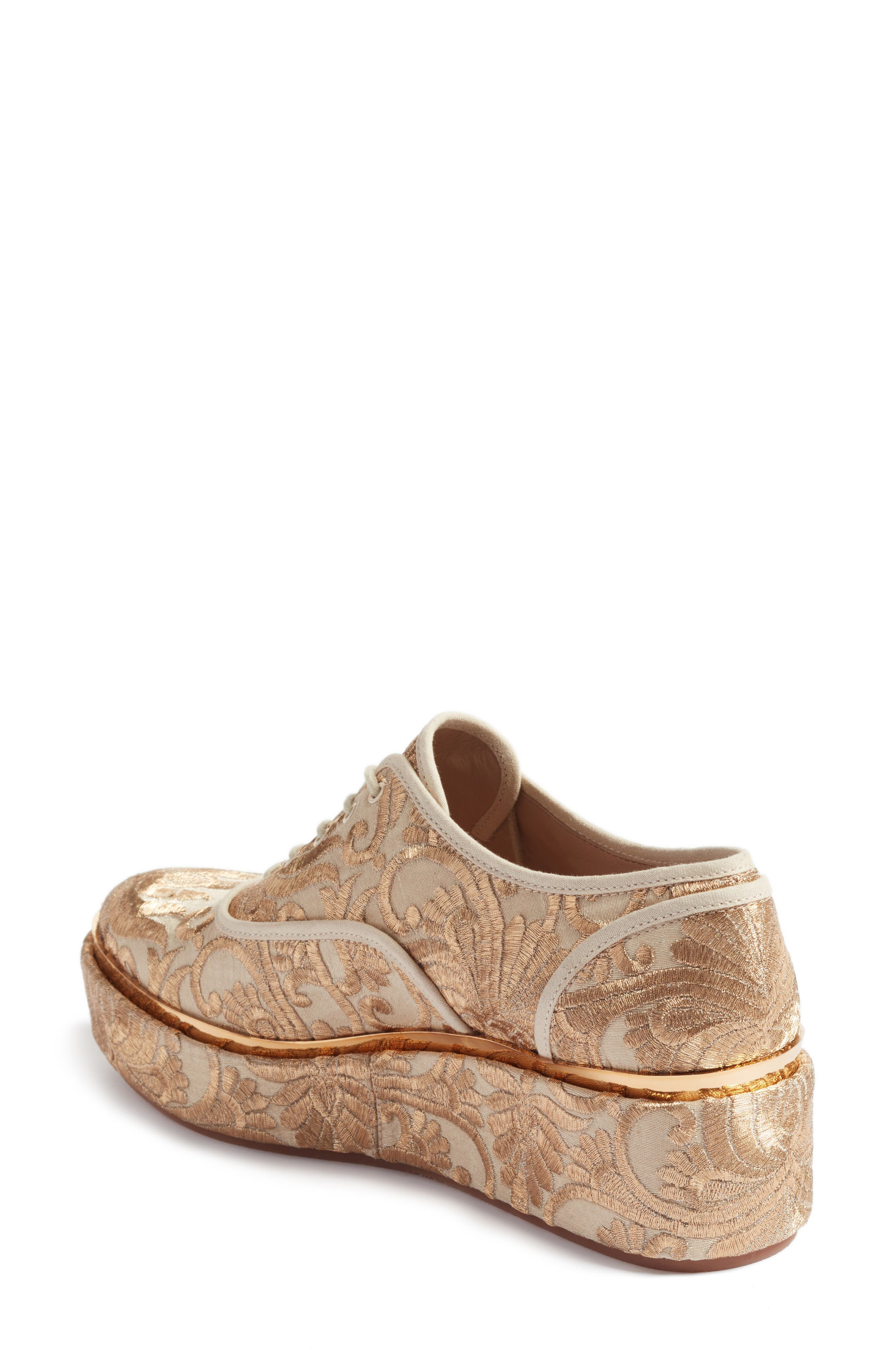 Arden Platform Oxford,                             Alternate thumbnail 2, color,                             Beige/ Gold Nayan Brocade