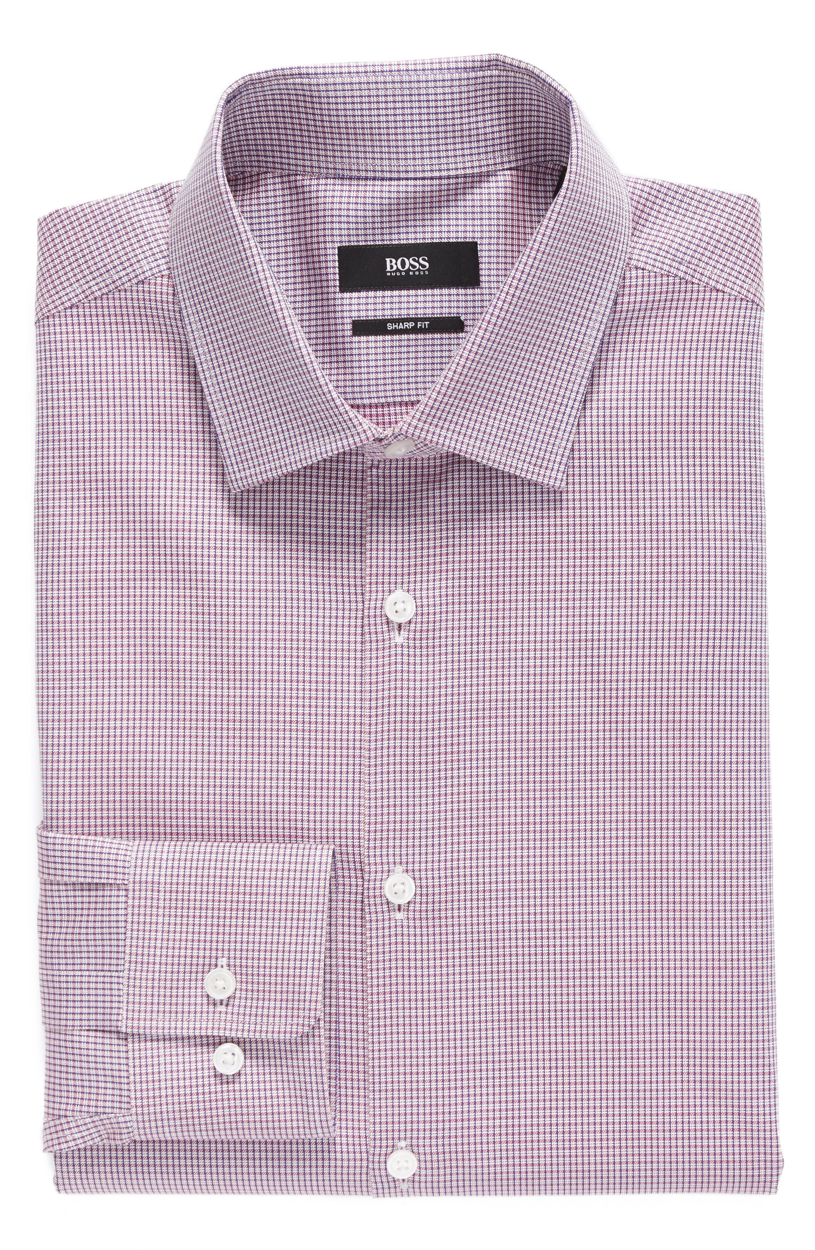Sharp Fit Check Dress Shirt,                         Main,                         color, Red