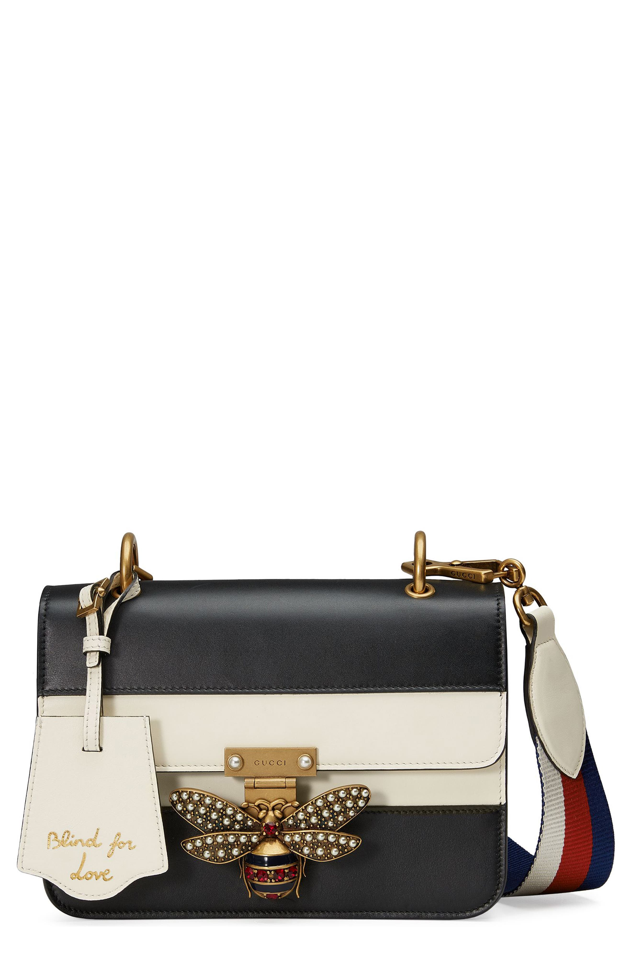 Queen Margaret Stripe Leather Shoulder Bag,                             Main thumbnail 1, color,                             Black/White