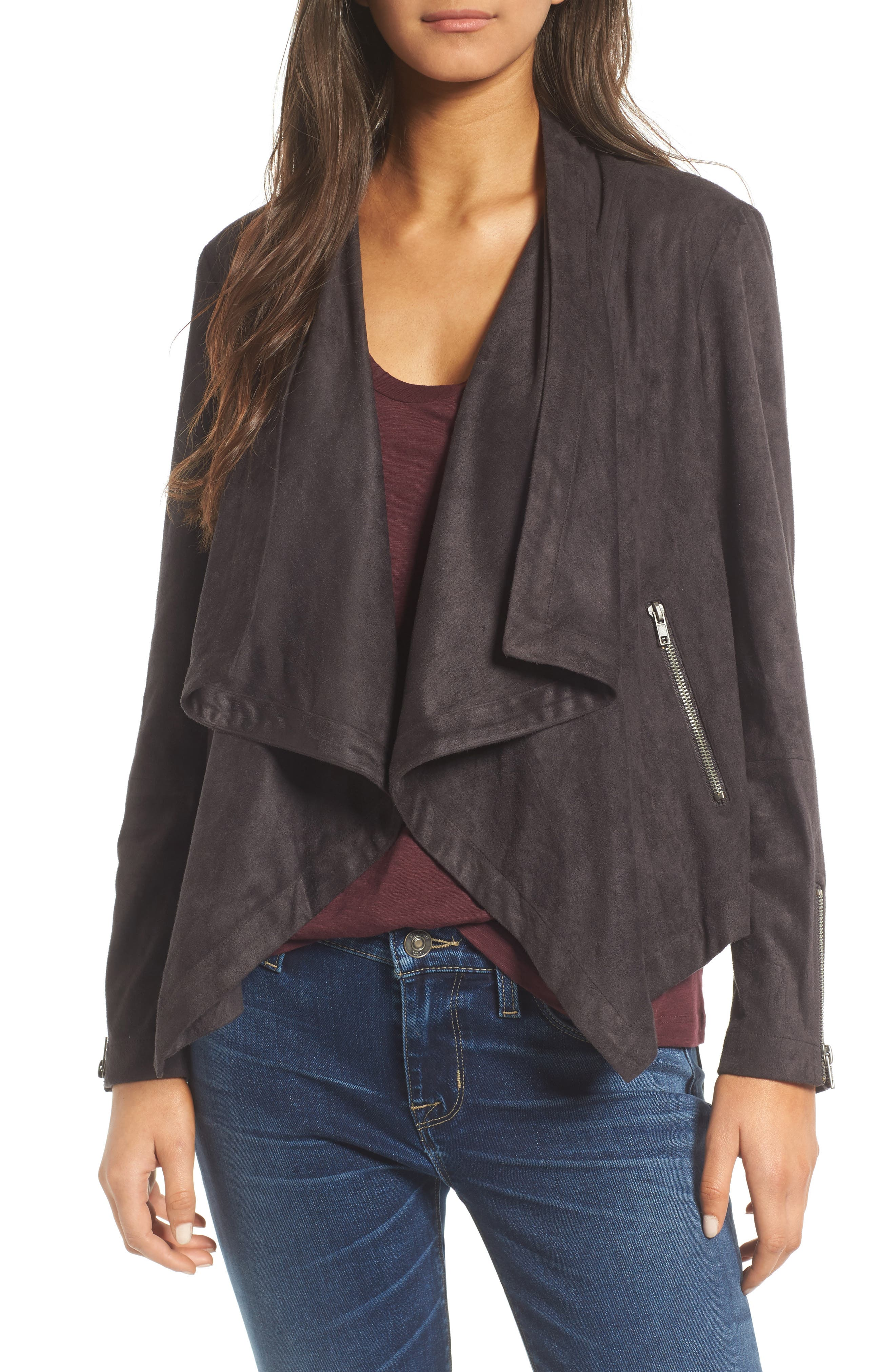 cupcakes and cashmere Chyla Drape Front Faux Suede Jacket