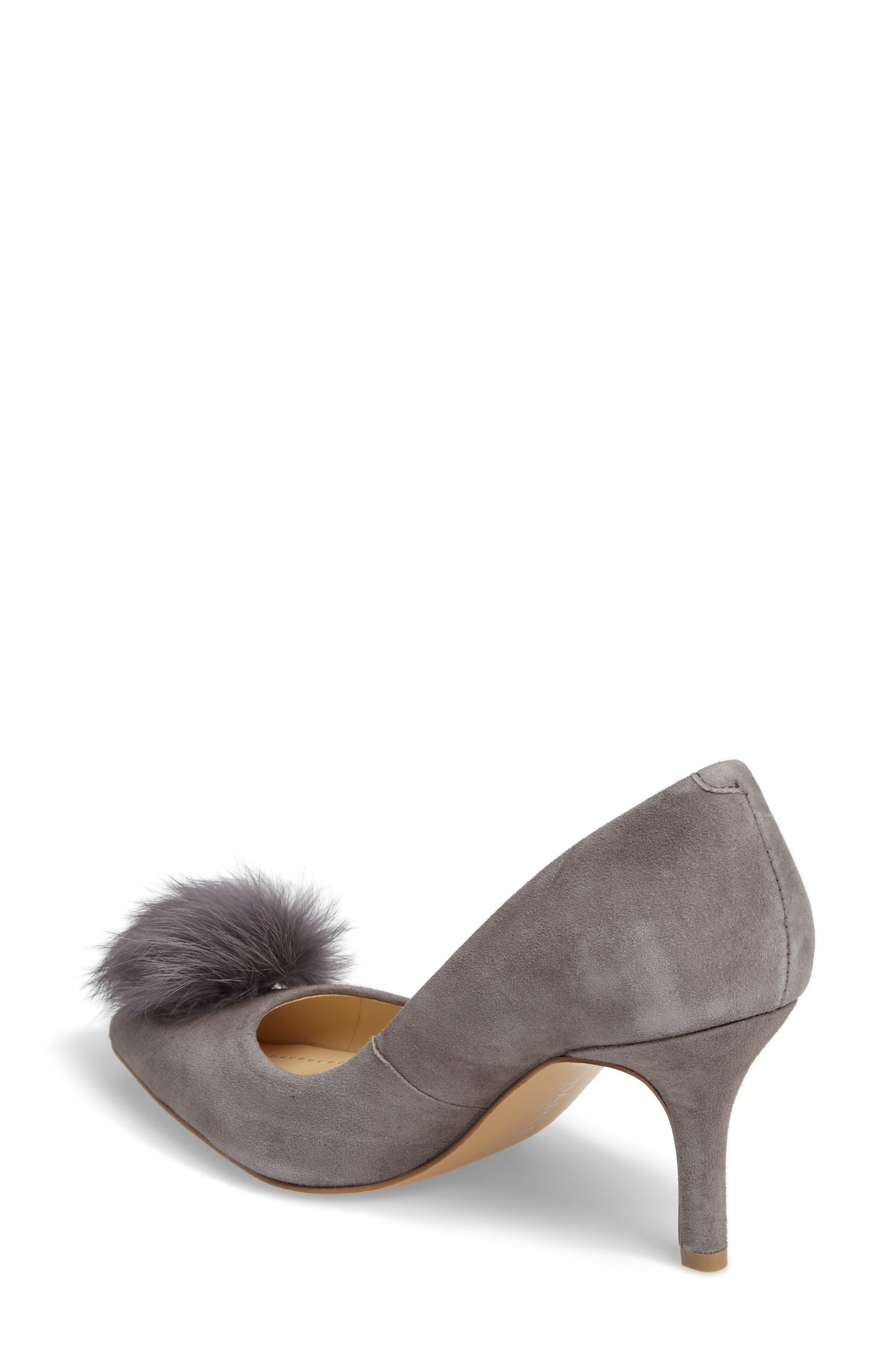 Sadie Genuine Rabbit Fur Pom Pump,                             Alternate thumbnail 2, color,                             Slate Suede