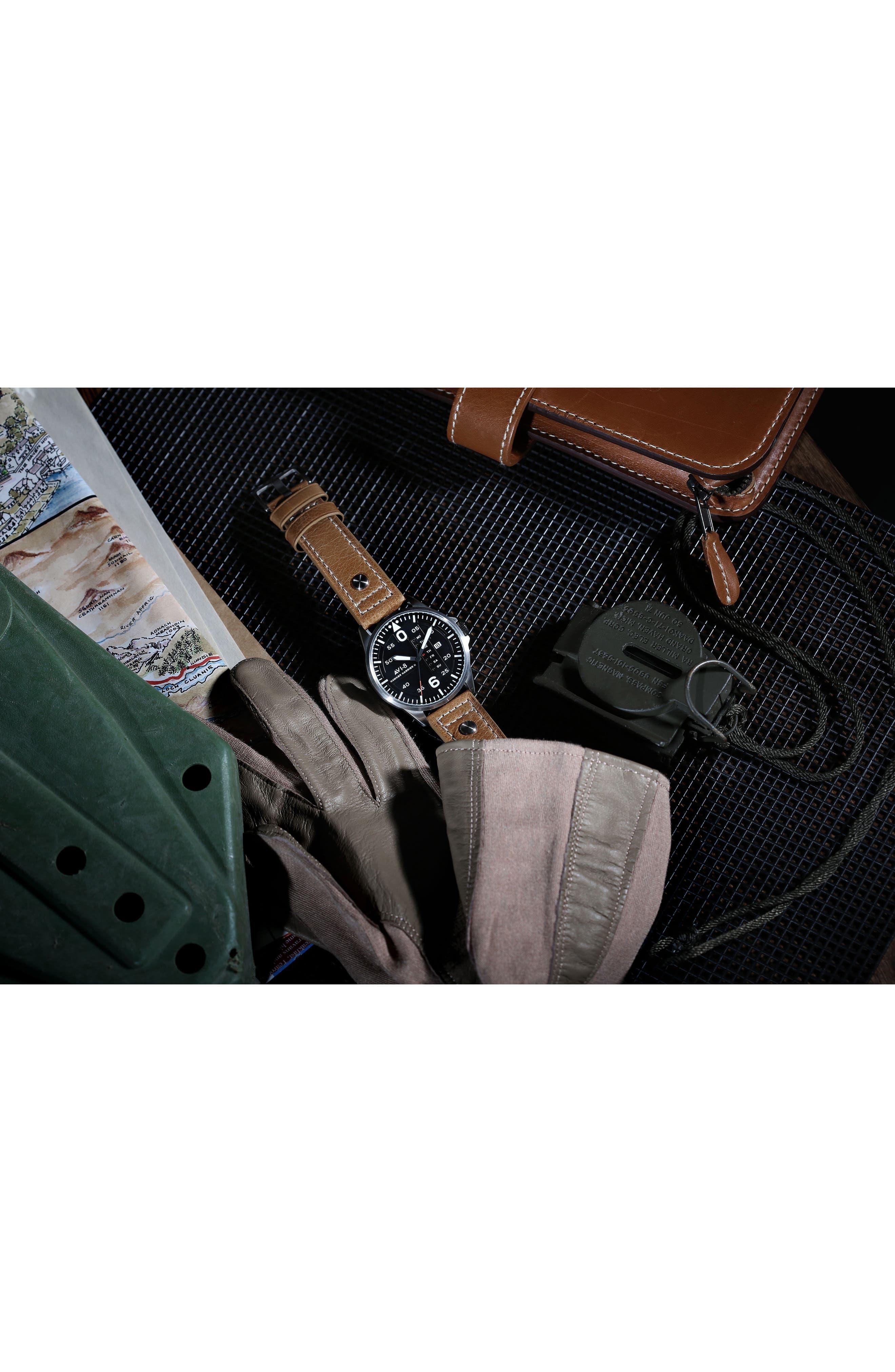 'Hawker Harrier II' Leather Strap Watch, 45mm,                             Alternate thumbnail 7, color,                             Black/ Tan