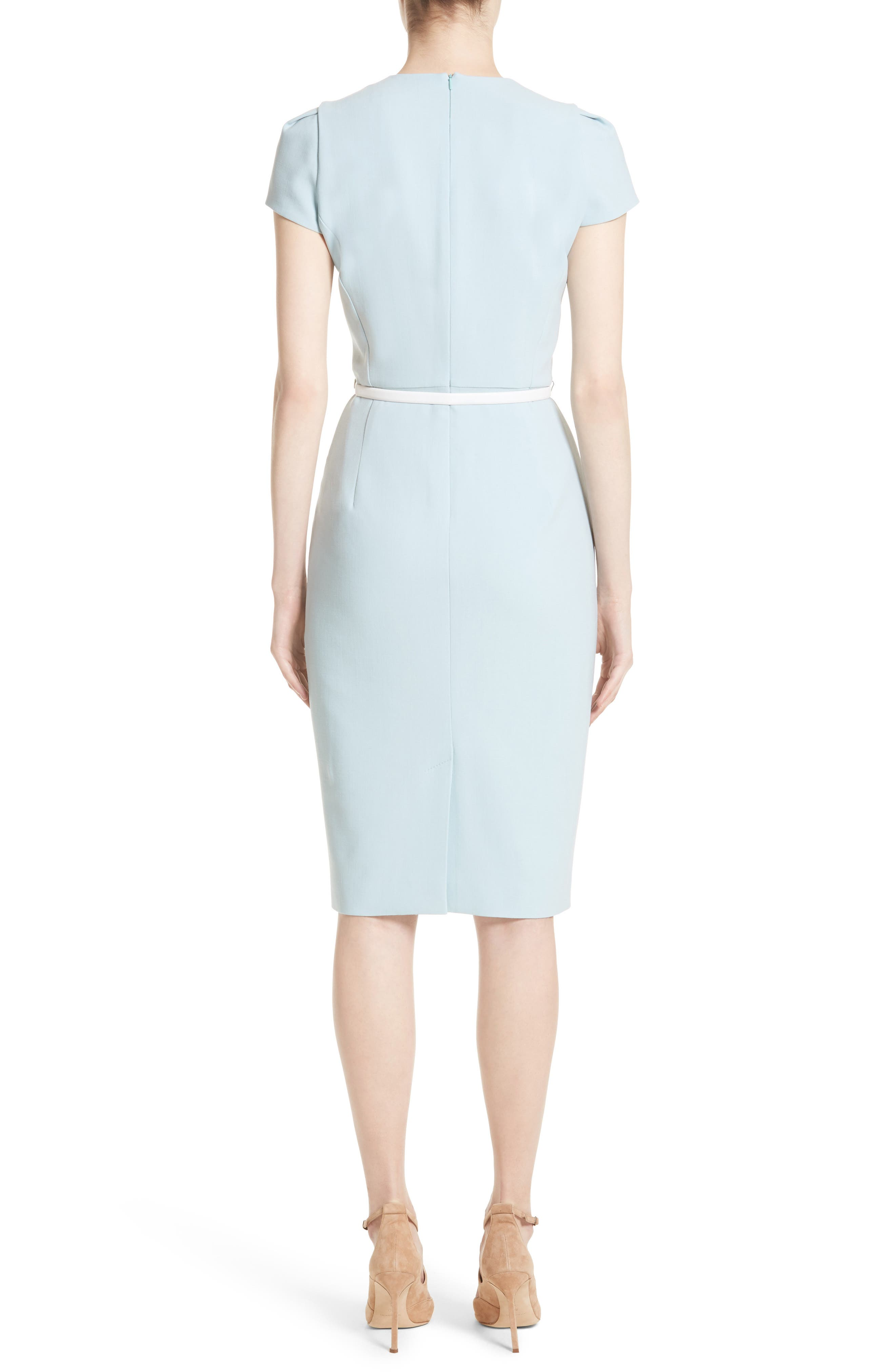 Teorema Belted Sheath Dress,                             Alternate thumbnail 2, color,                             Water