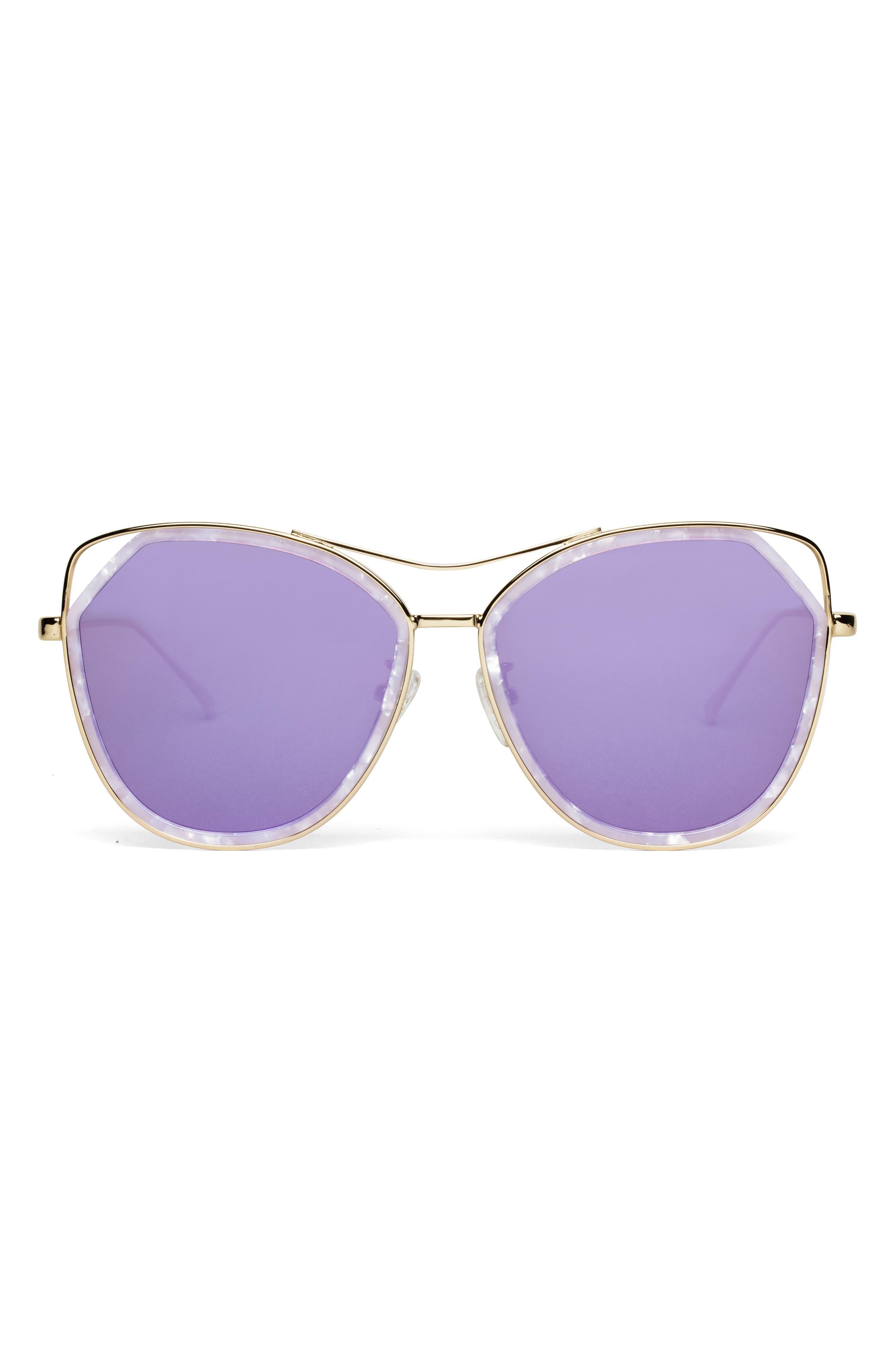Grand 56mm Polarized Cat Eye Sunglasses,                             Alternate thumbnail 5, color,                             Lavender