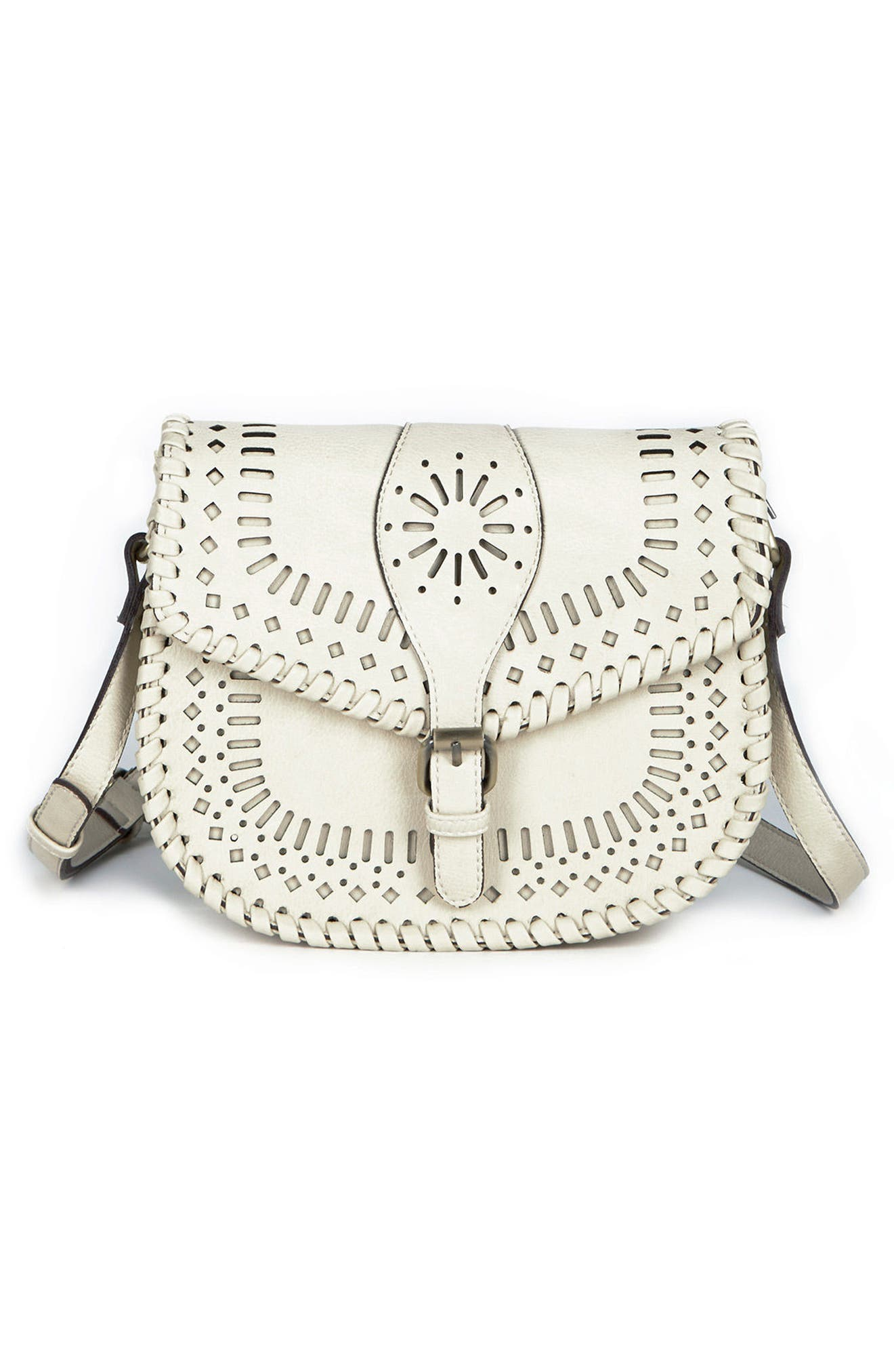 'Kianna' Perforated Faux Leather Crossbody Bag,                             Main thumbnail 1, color,                             Ivory
