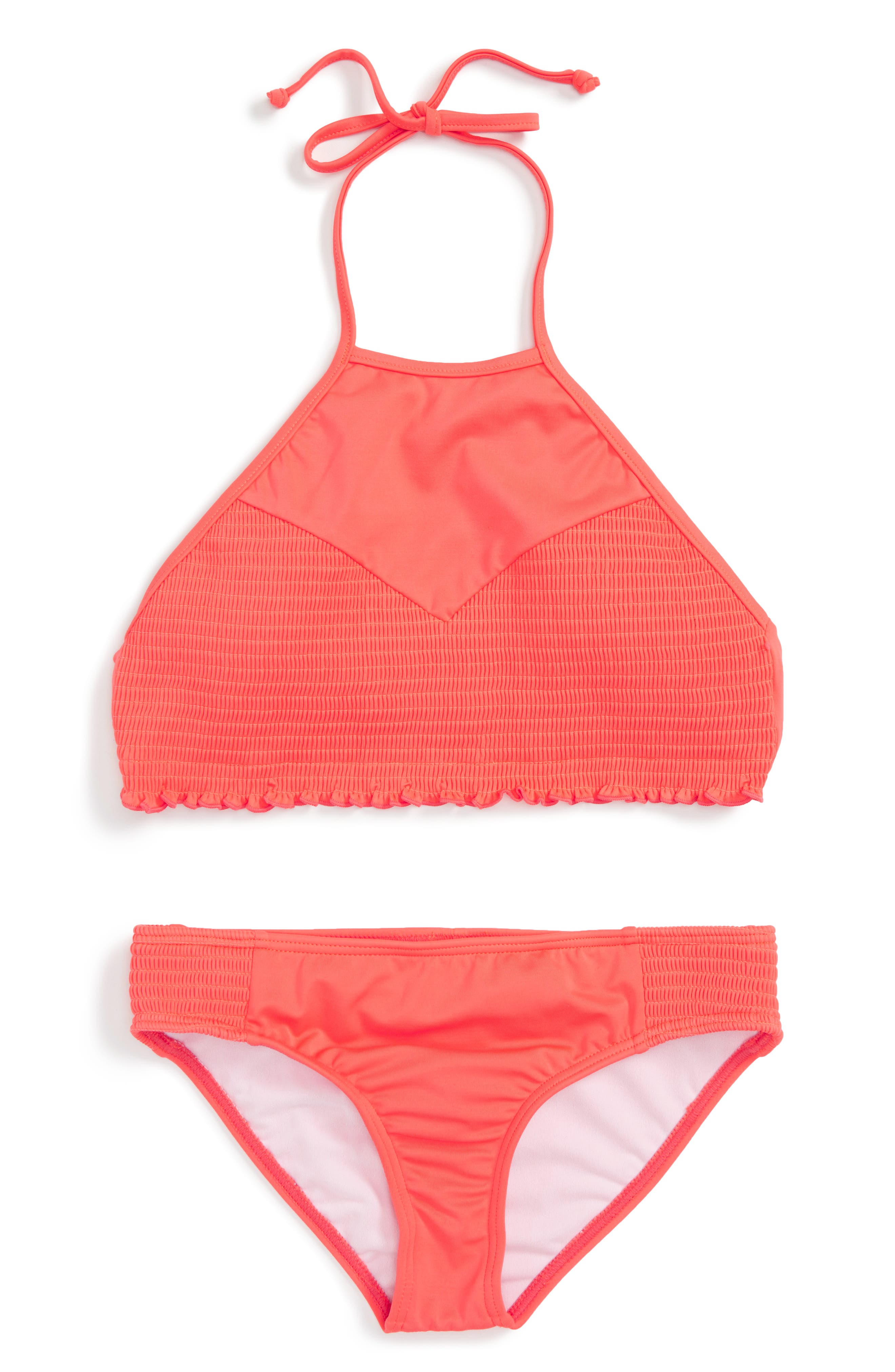 Smocked Two-Piece Swimsuit,                         Main,                         color, Tropical Punch