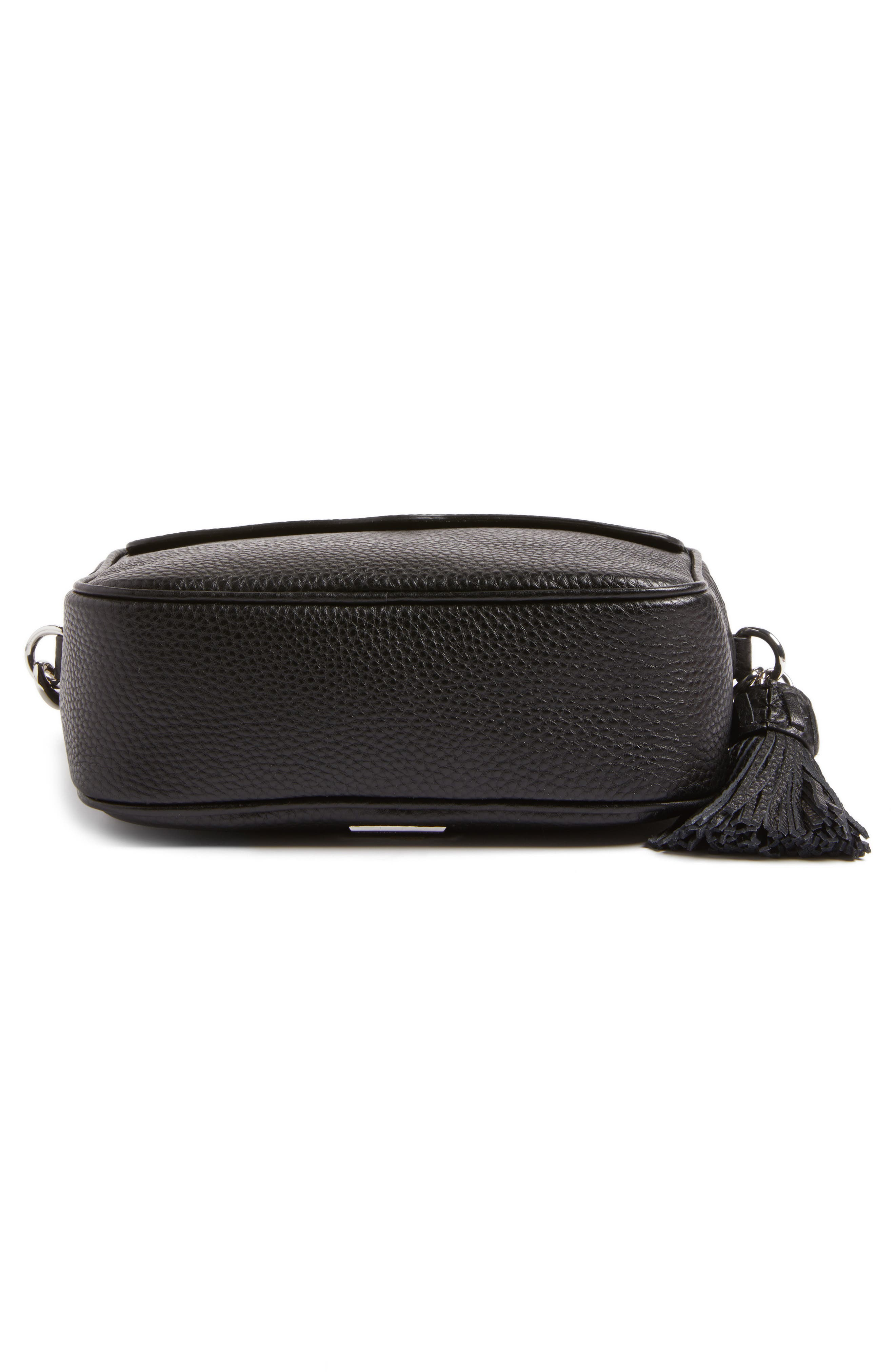 Leather Camera Bag with Guitar Strap,                             Alternate thumbnail 7, color,                             Black/ Silver Hardware