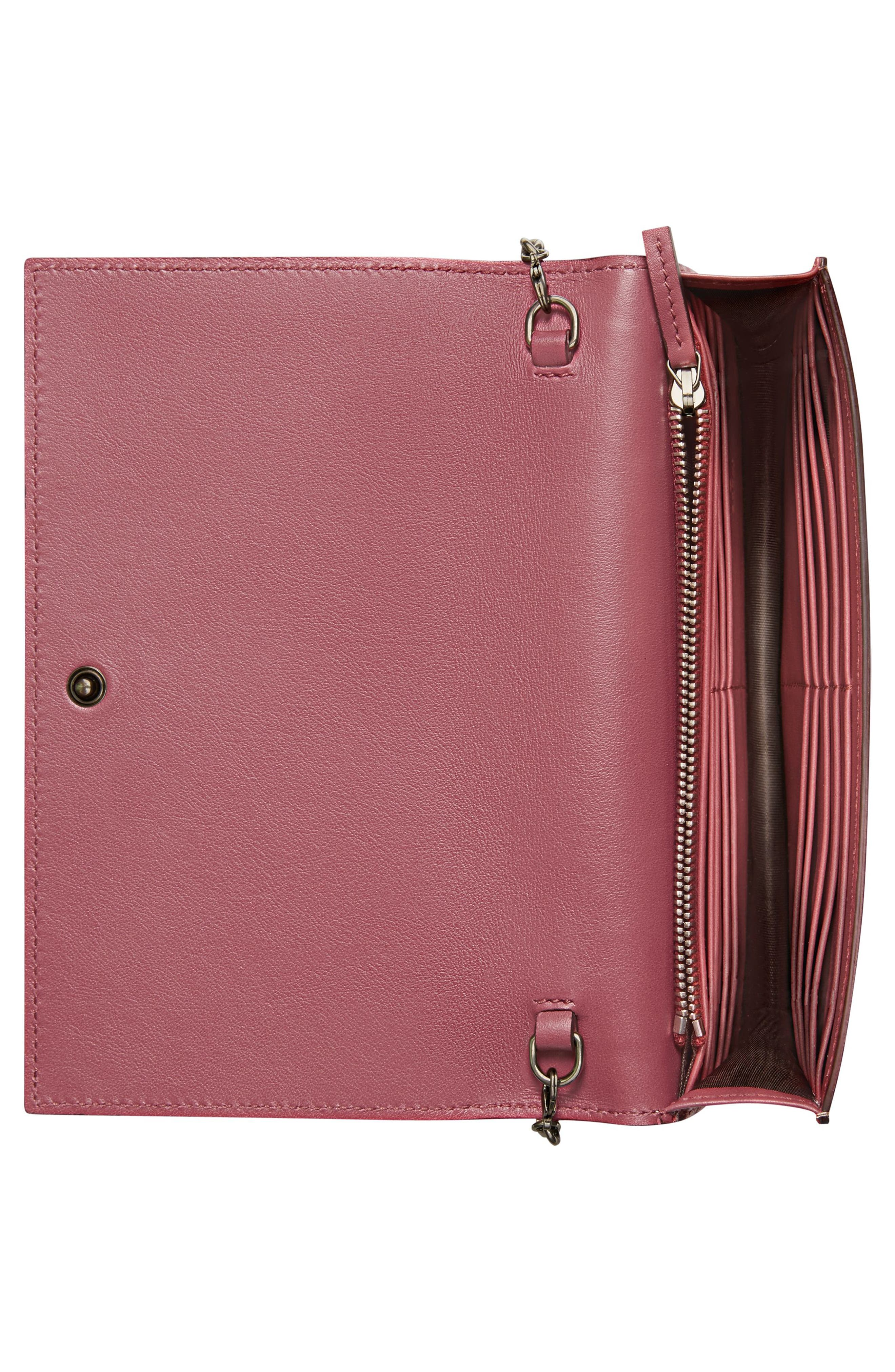 GG Blooms Supreme Canvas Wallet on a Chain,                             Alternate thumbnail 2, color,                             Beige Ebony Multi/Dry Rose