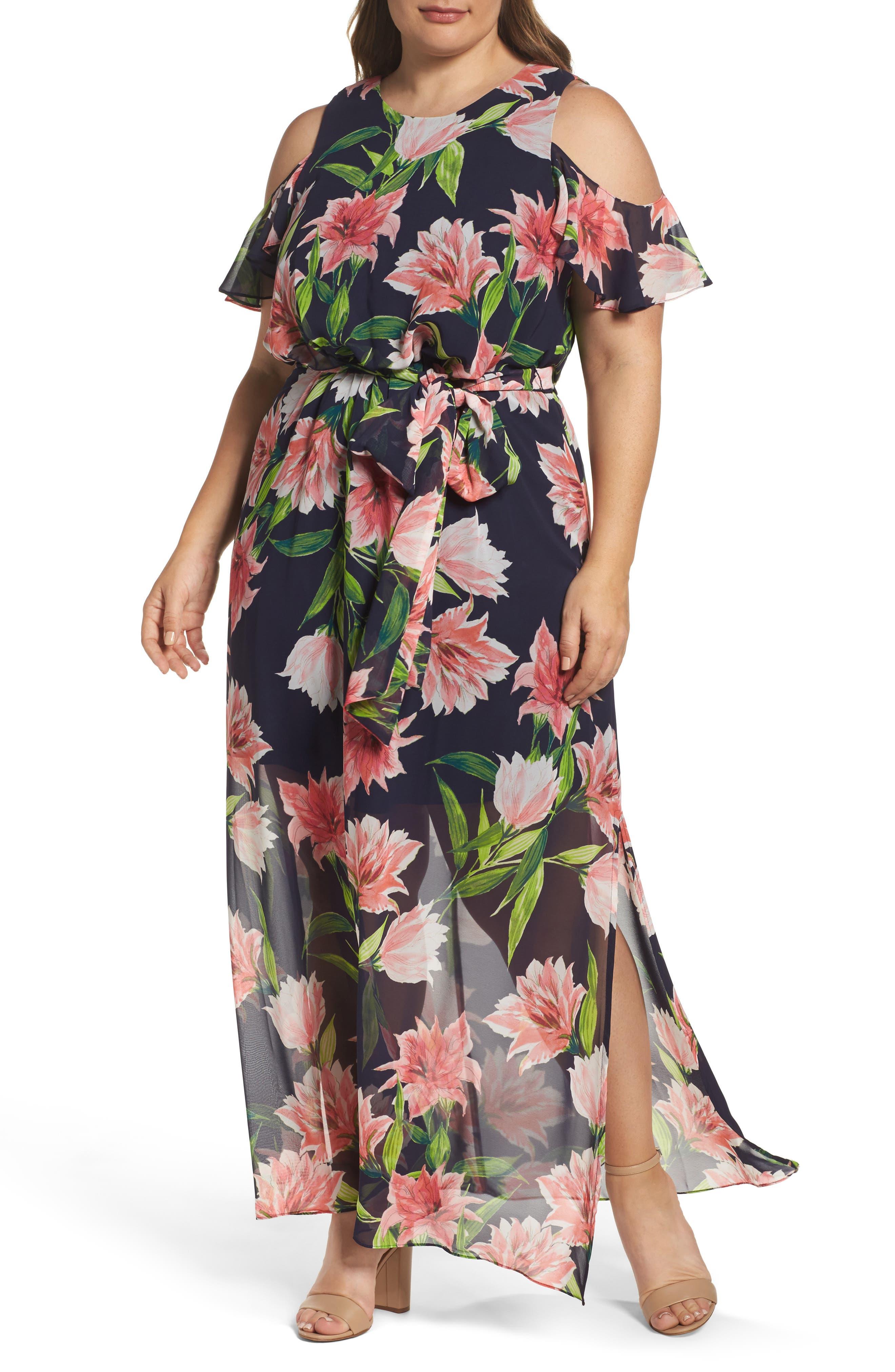 Main Image - Eliza J Floral Chiffon Cold Shoulder Maxi Dress (Plus Size)