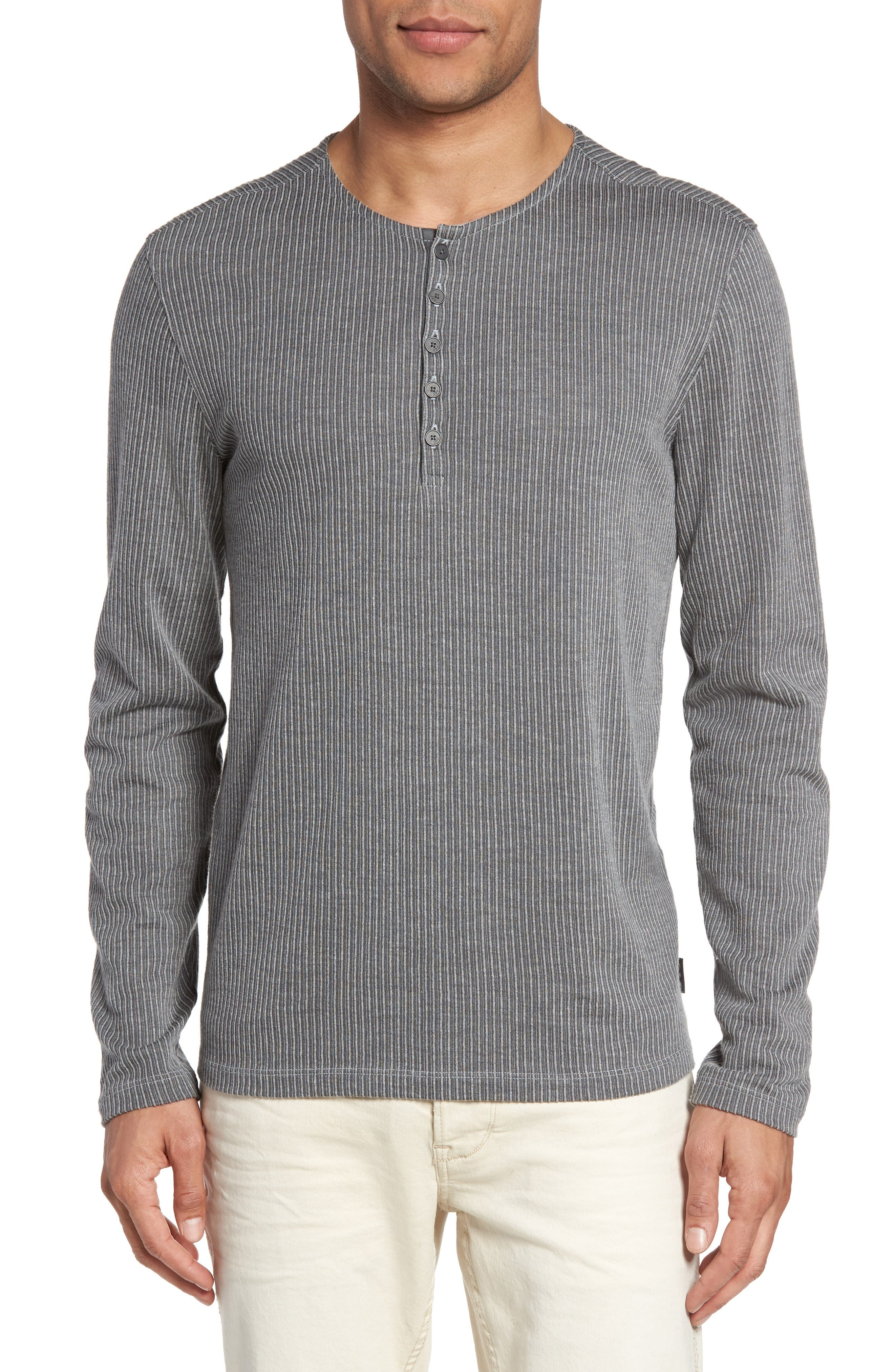 Stripe Henley,                         Main,                         color, Dark Grey