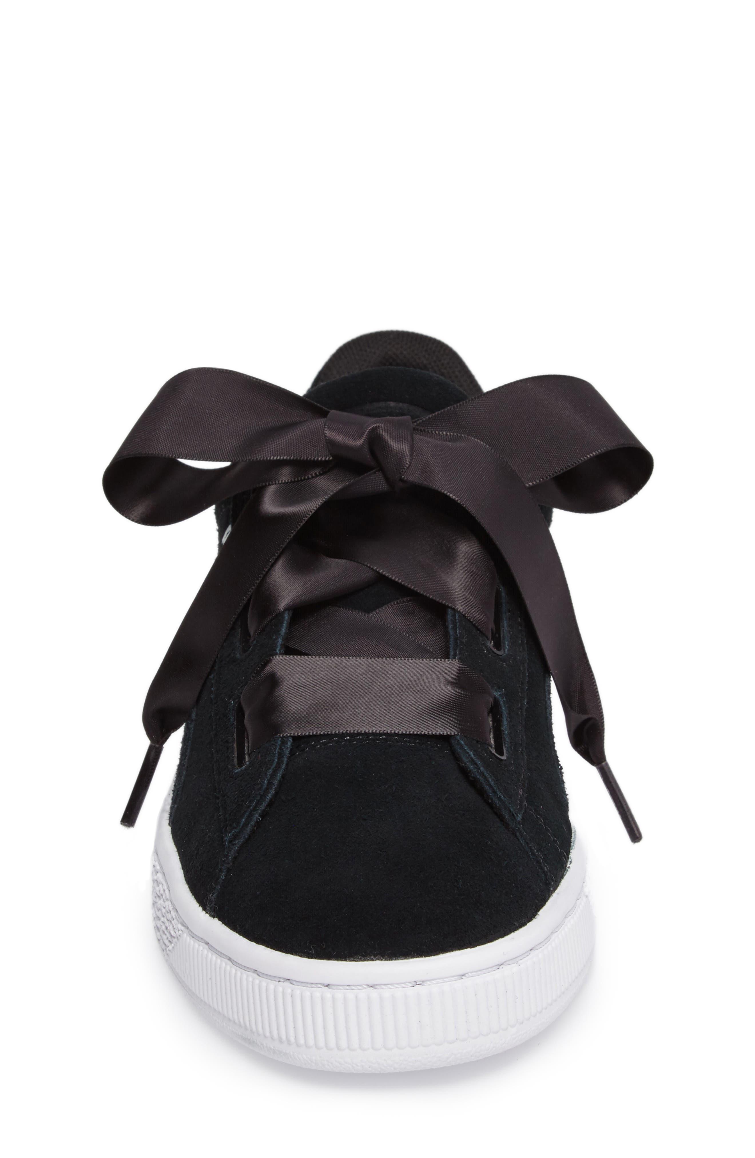 Suede Heart Sneaker,                             Alternate thumbnail 4, color,                             Puma Black