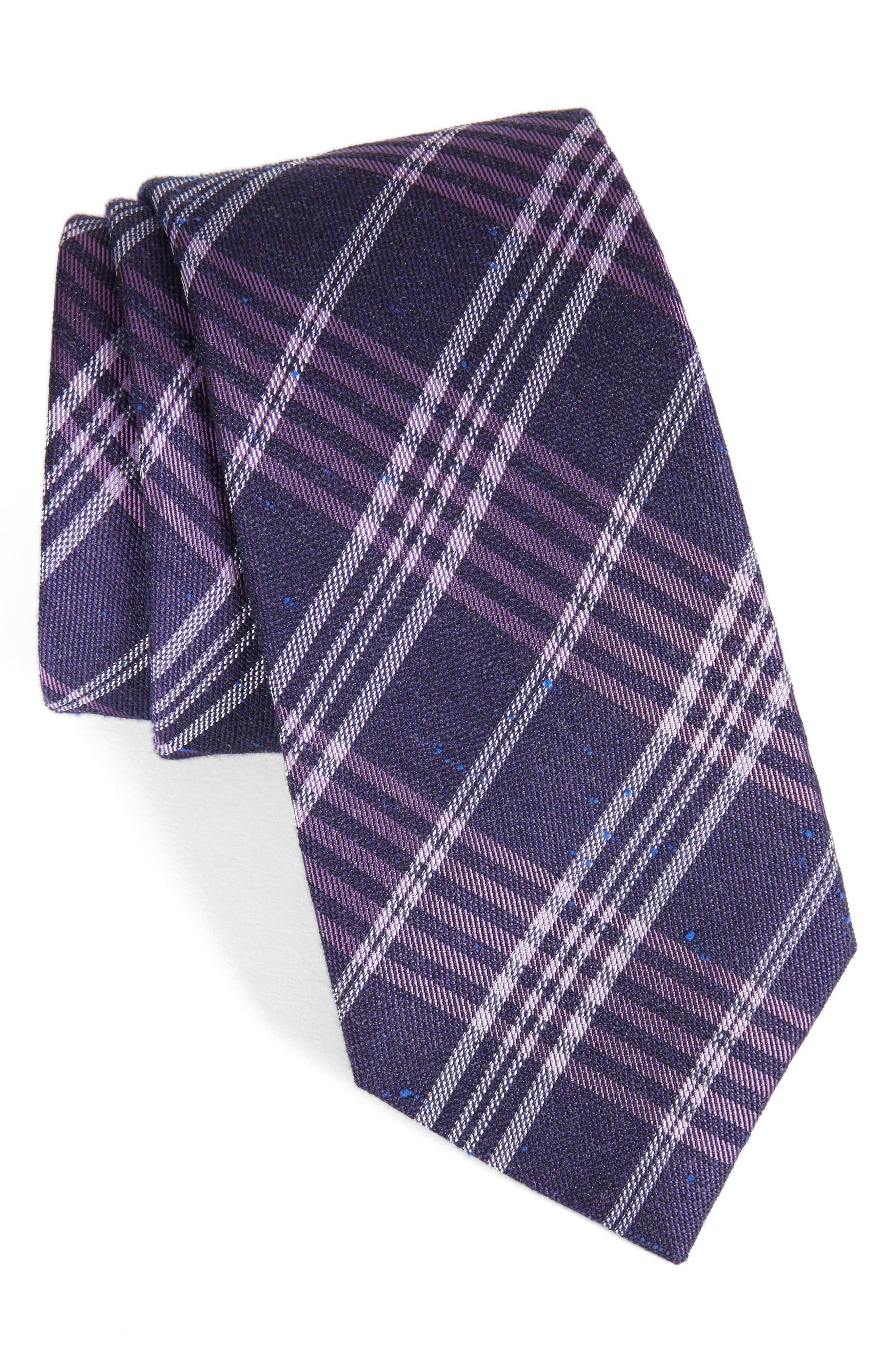School Plaid Silk & Cotton Tie,                         Main,                         color, Purple