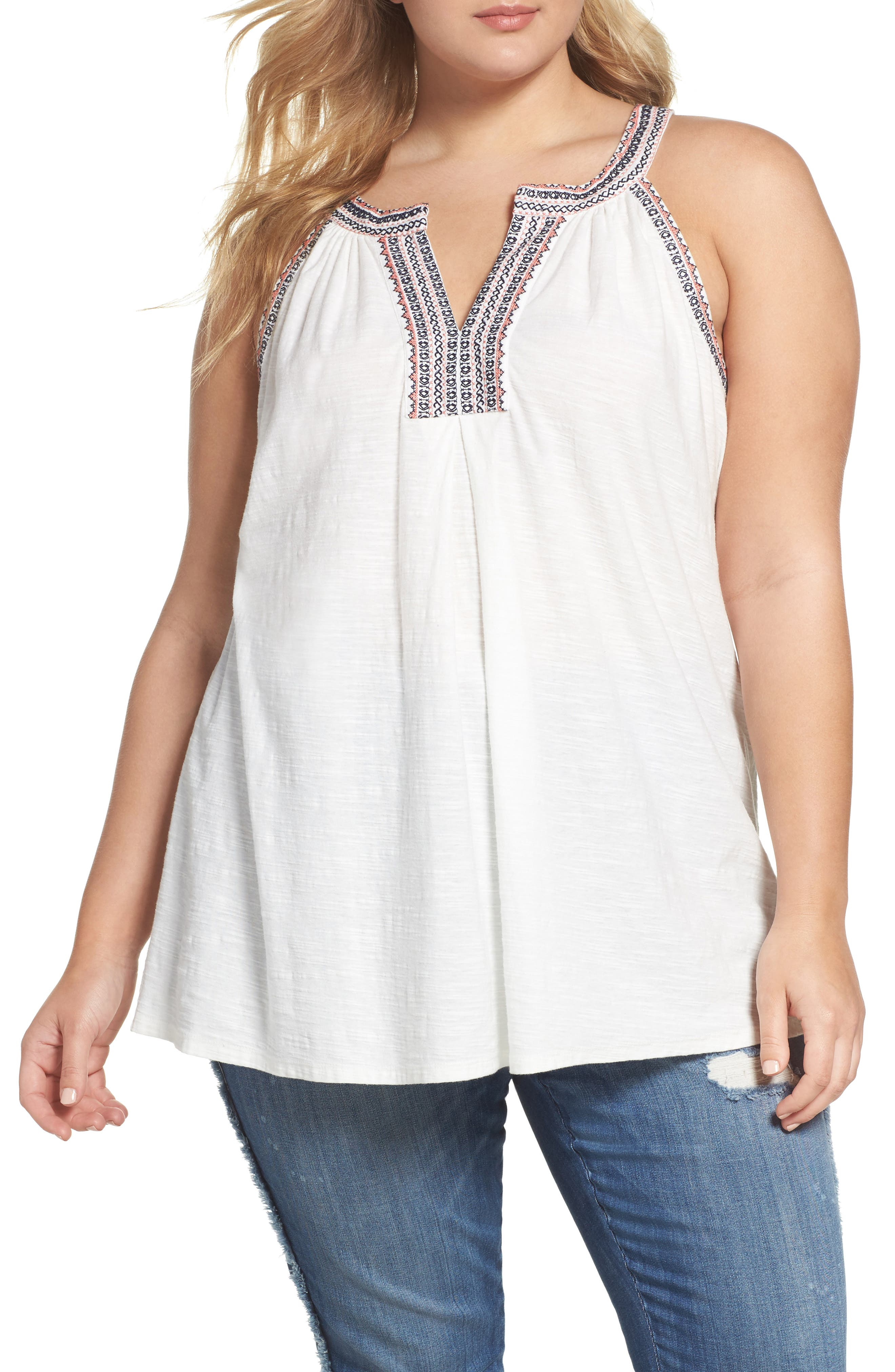 Two by Vince Camuto Embroidered Cotton Split Neck Top (Plus Size)