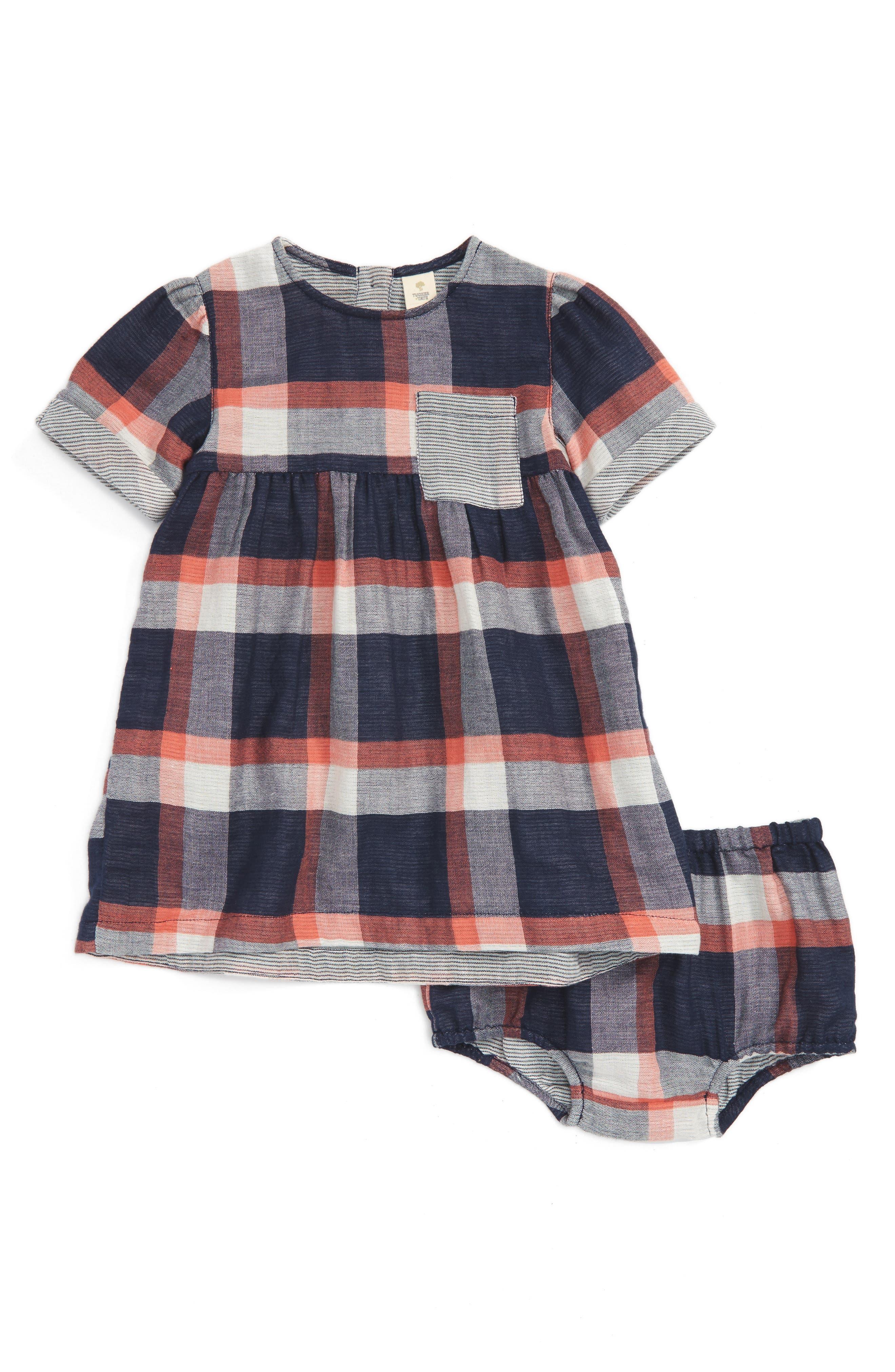 Plaid Short Sleeve Dress,                         Main,                         color, Navy Peacoat- Pink Plaid