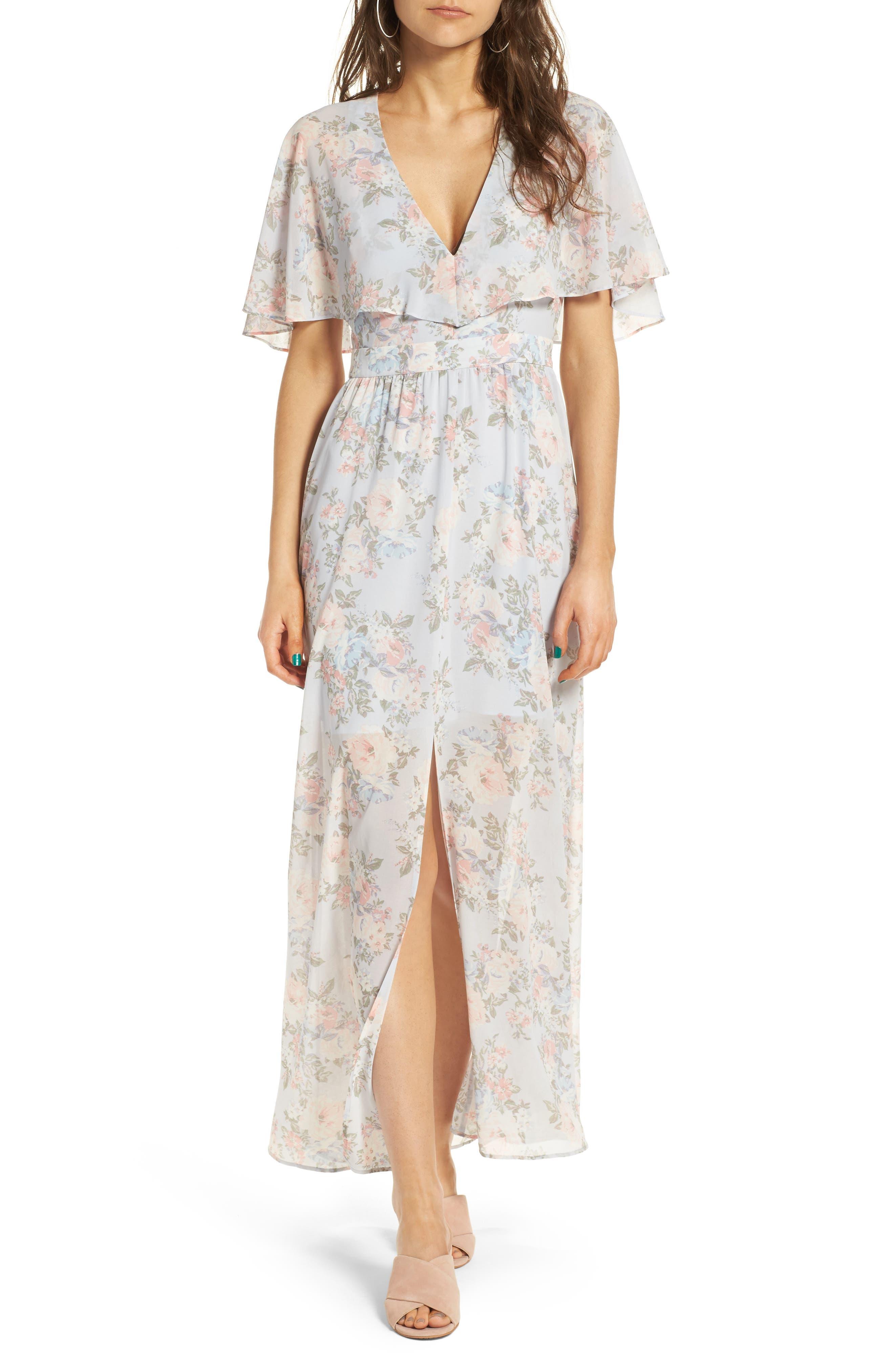 Love Note Flutter Sleeve Maxi Dress,                         Main,                         color, Blue Floral Print