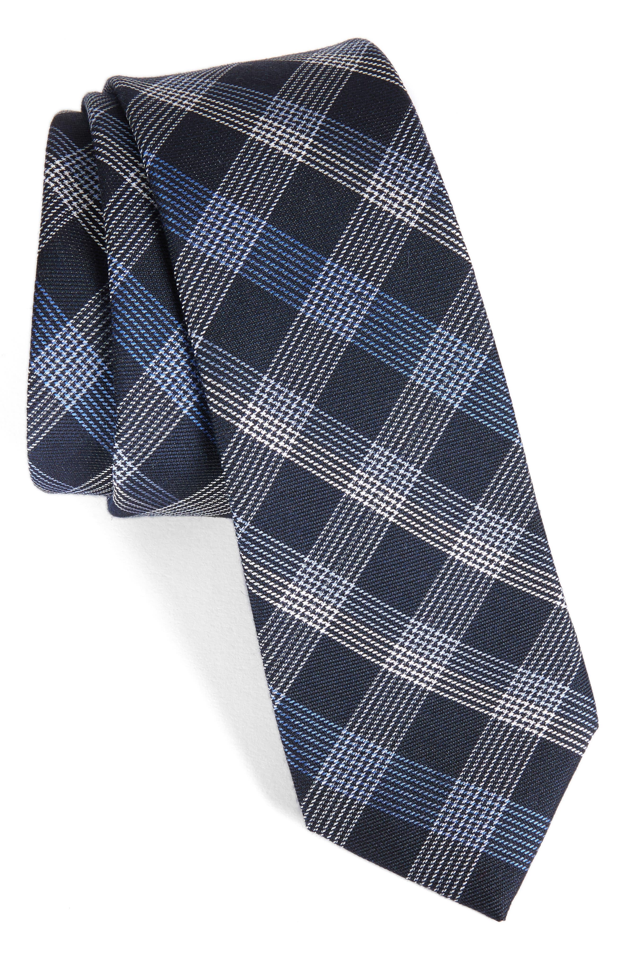 Indigo Plaid Silk Tie,                         Main,                         color, Blue
