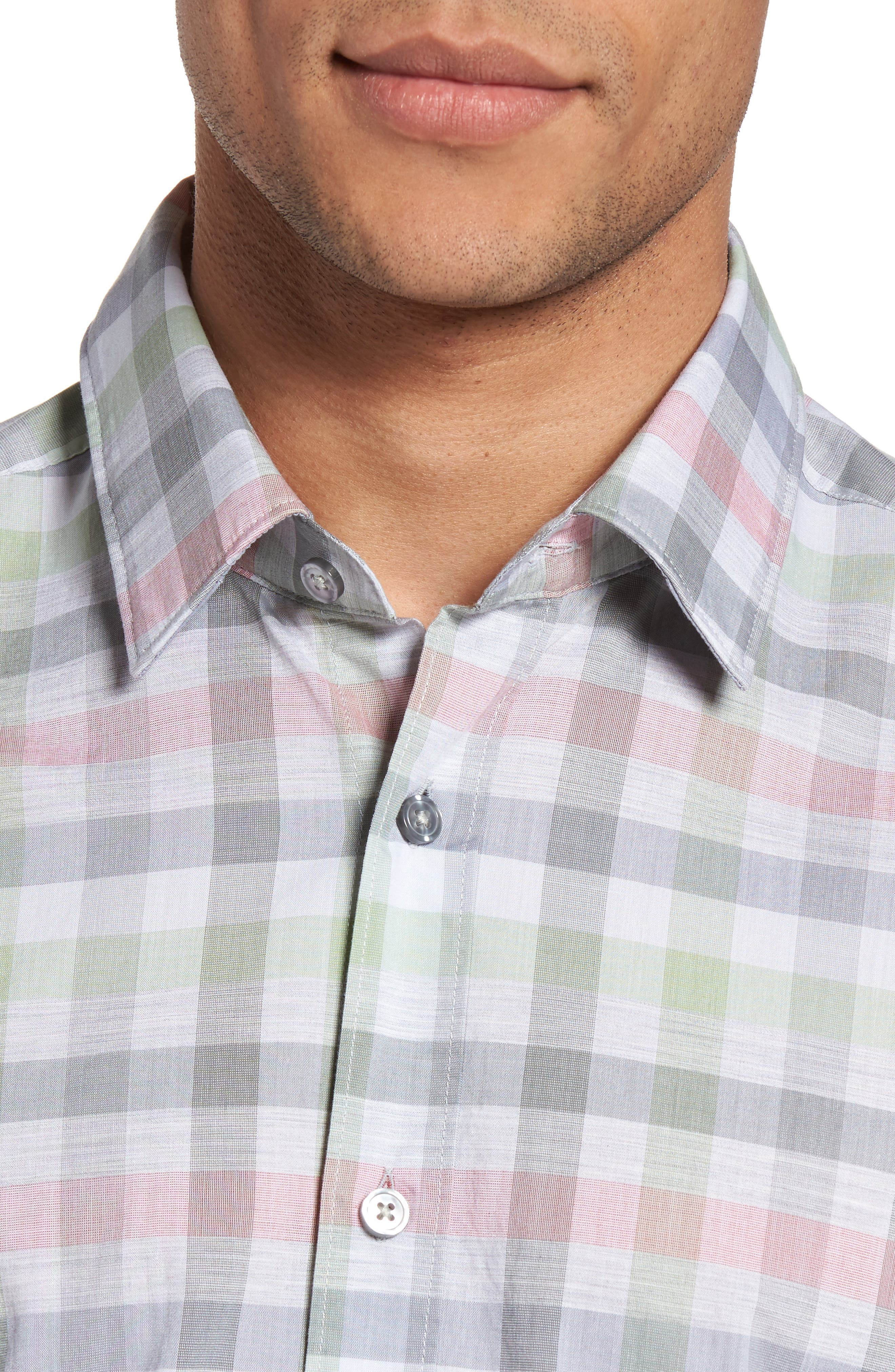 Lukas Regular Fit Plaid Sport Shirt,                             Alternate thumbnail 4, color,                             Green