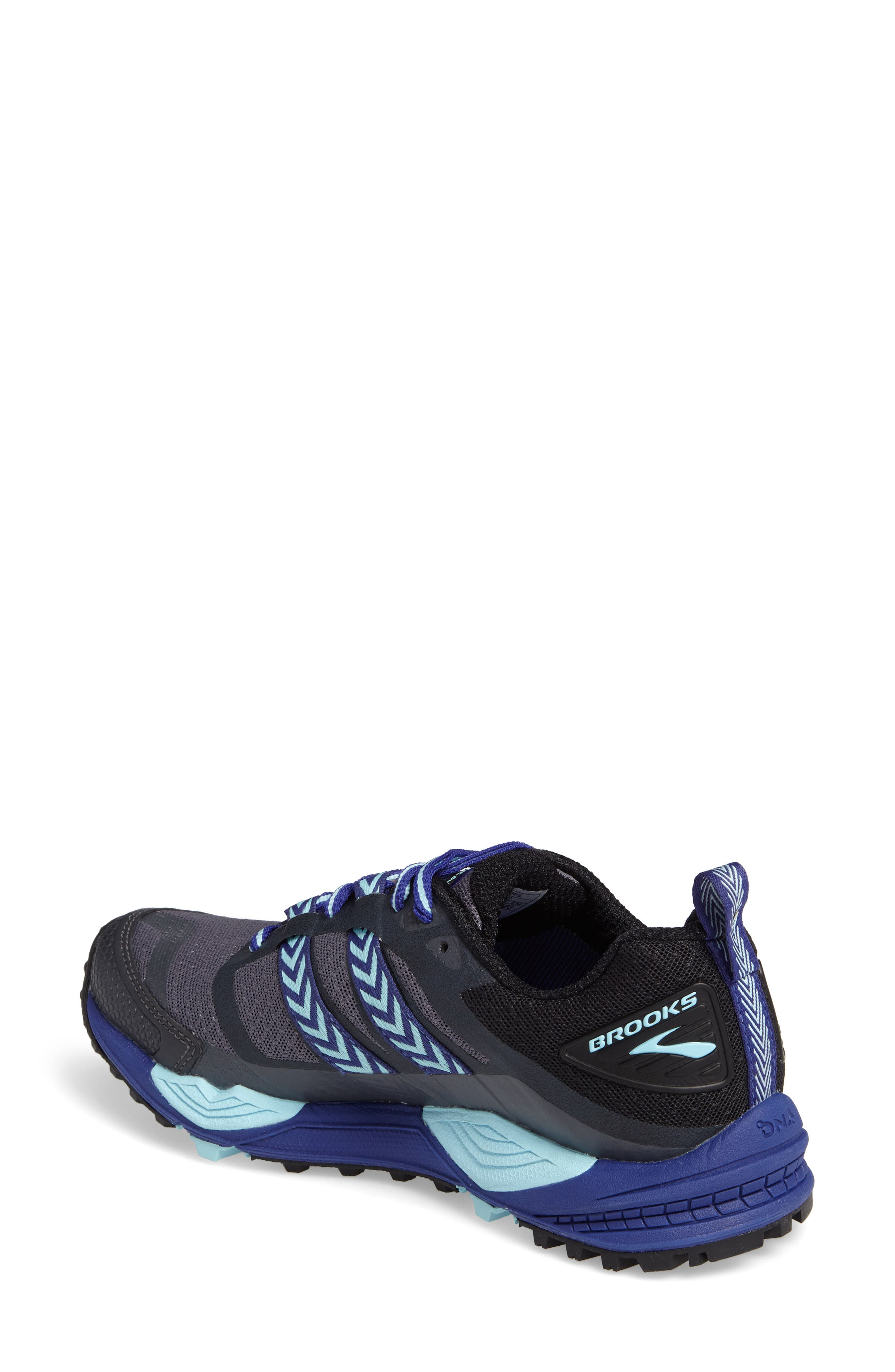 Cascadia 12 GTX Trail Running Shoe,                             Alternate thumbnail 2, color,                             Black/ Ebony/ Clematis Blue