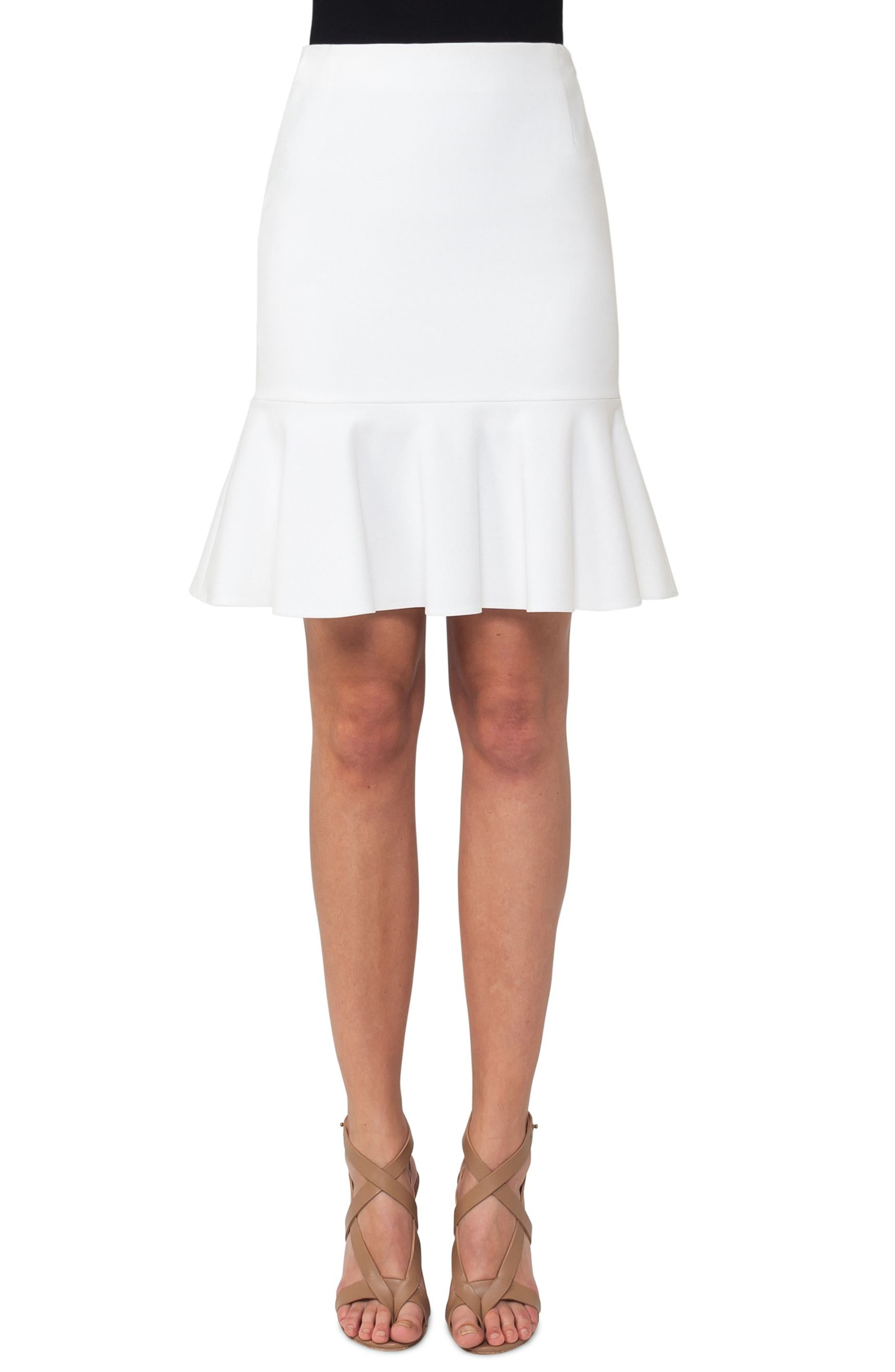 Jersey Flounce Hem Skirt,                             Main thumbnail 1, color,                             Cream