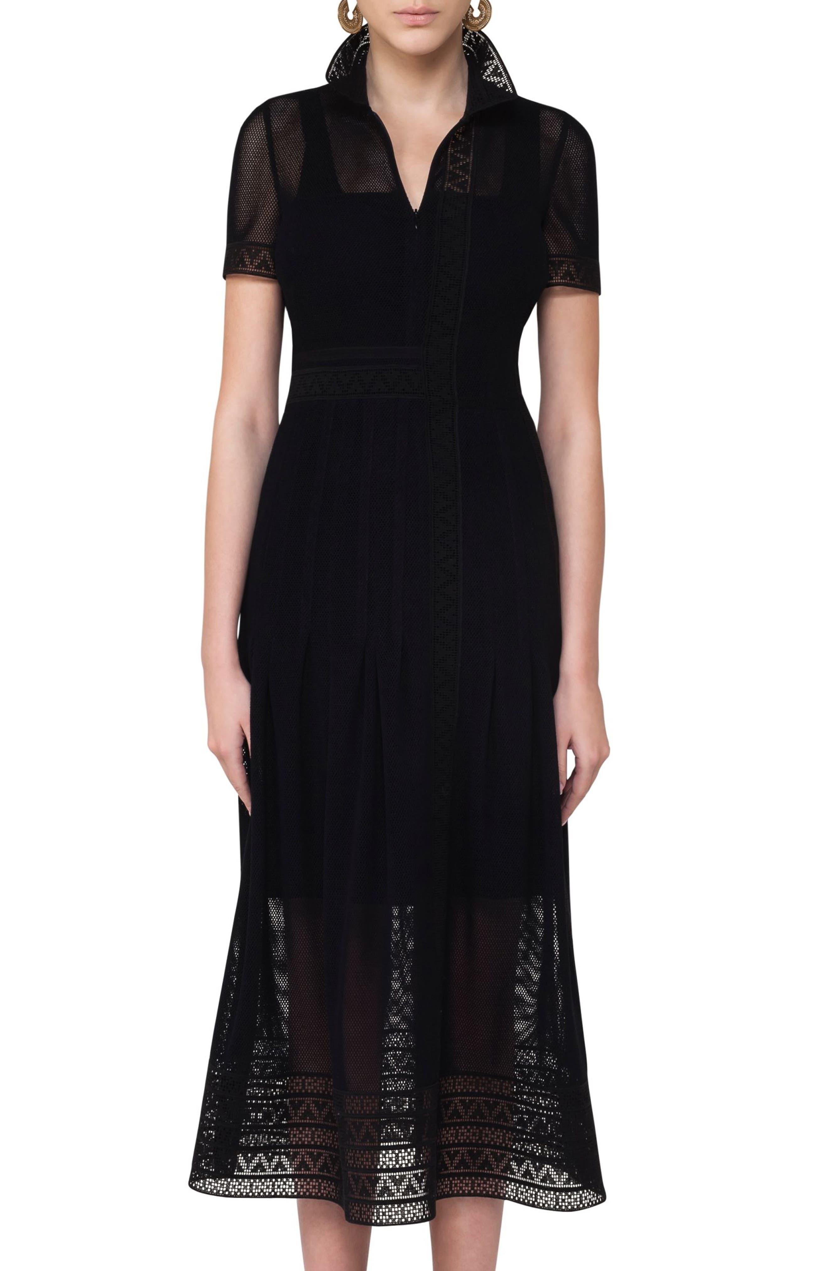 Lace Mesh Midi Dress,                         Main,                         color, Black