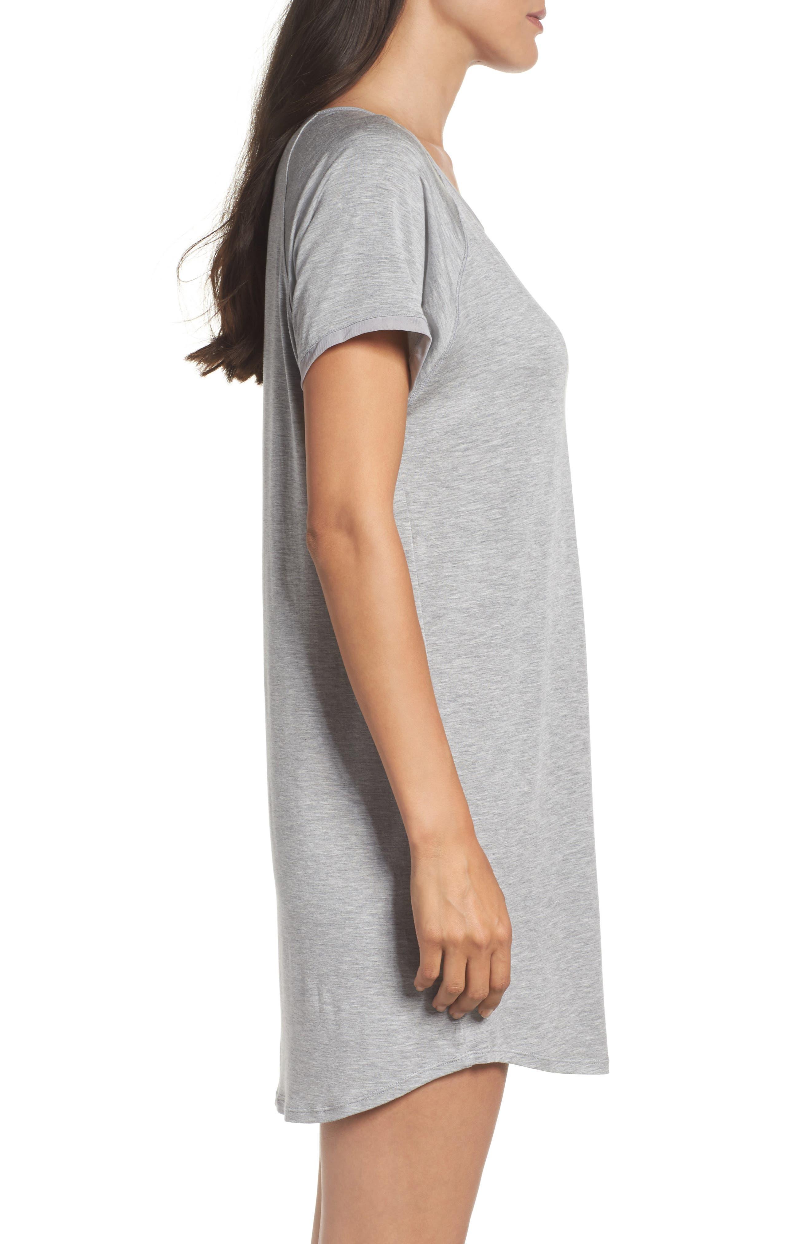 Sleep Shirt,                             Alternate thumbnail 3, color,                             Light Grey Heather