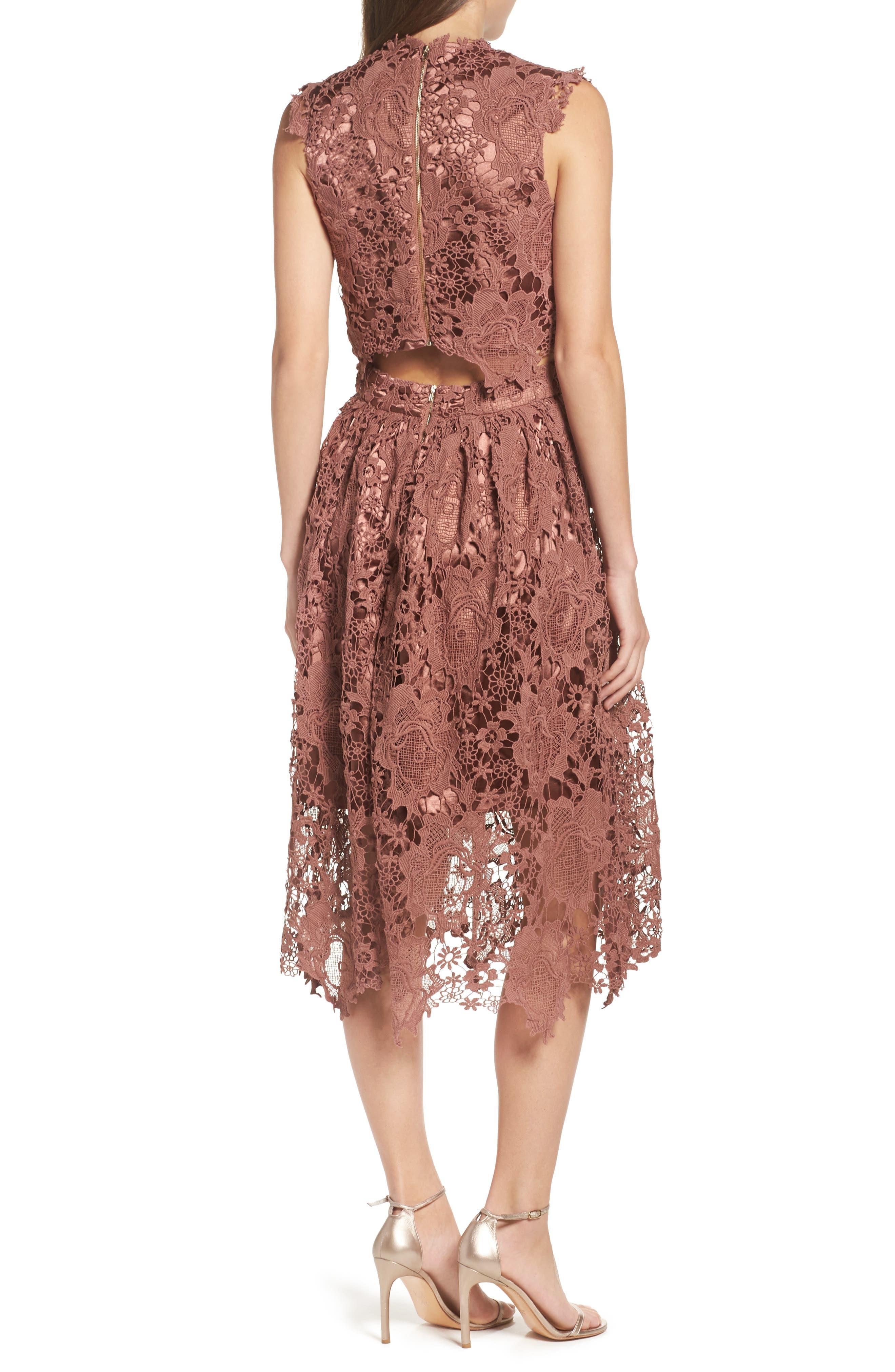 Lace Midi Dress,                             Alternate thumbnail 2, color,                             Rose