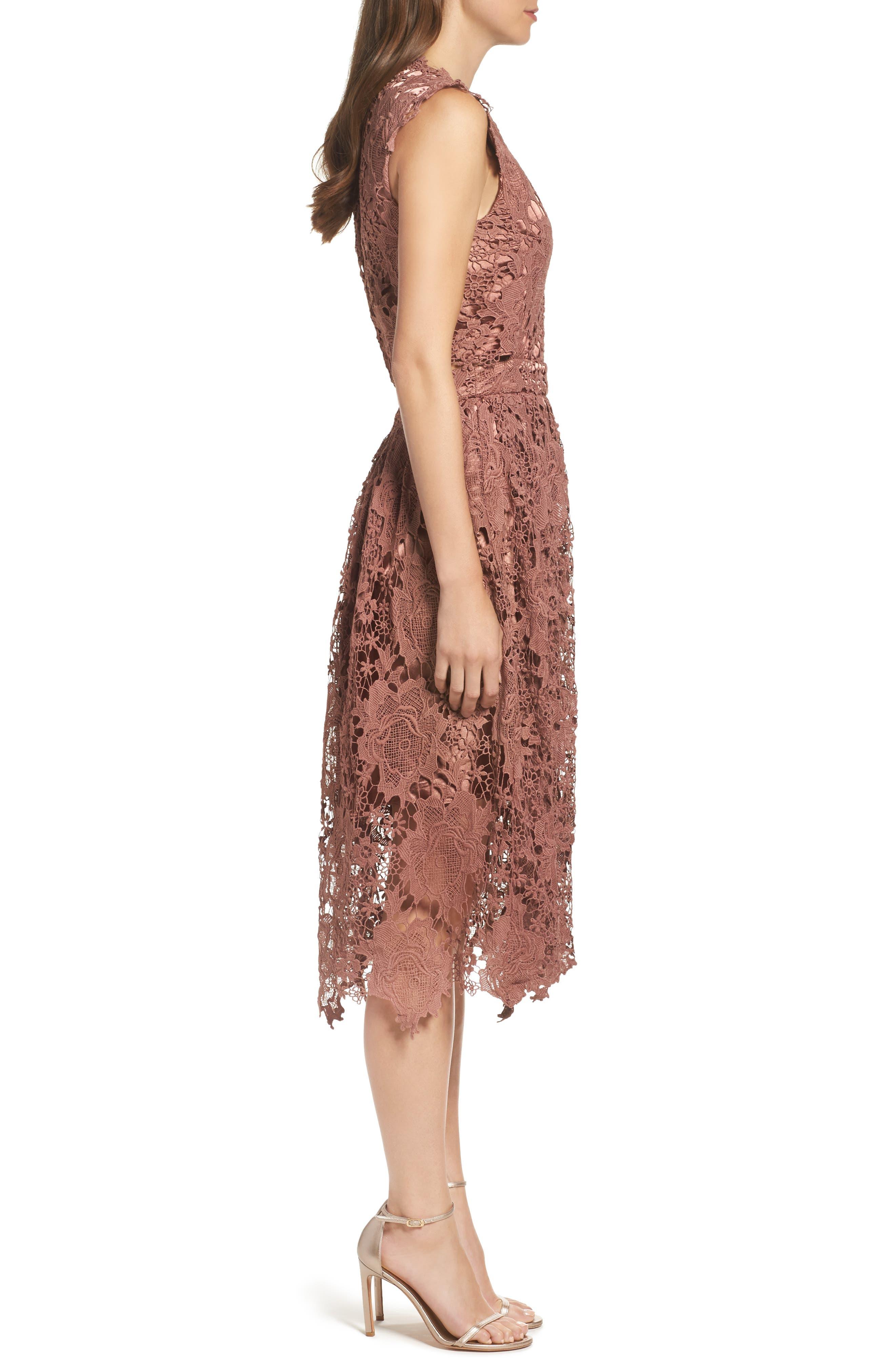 Lace Midi Dress,                             Alternate thumbnail 3, color,                             Rose