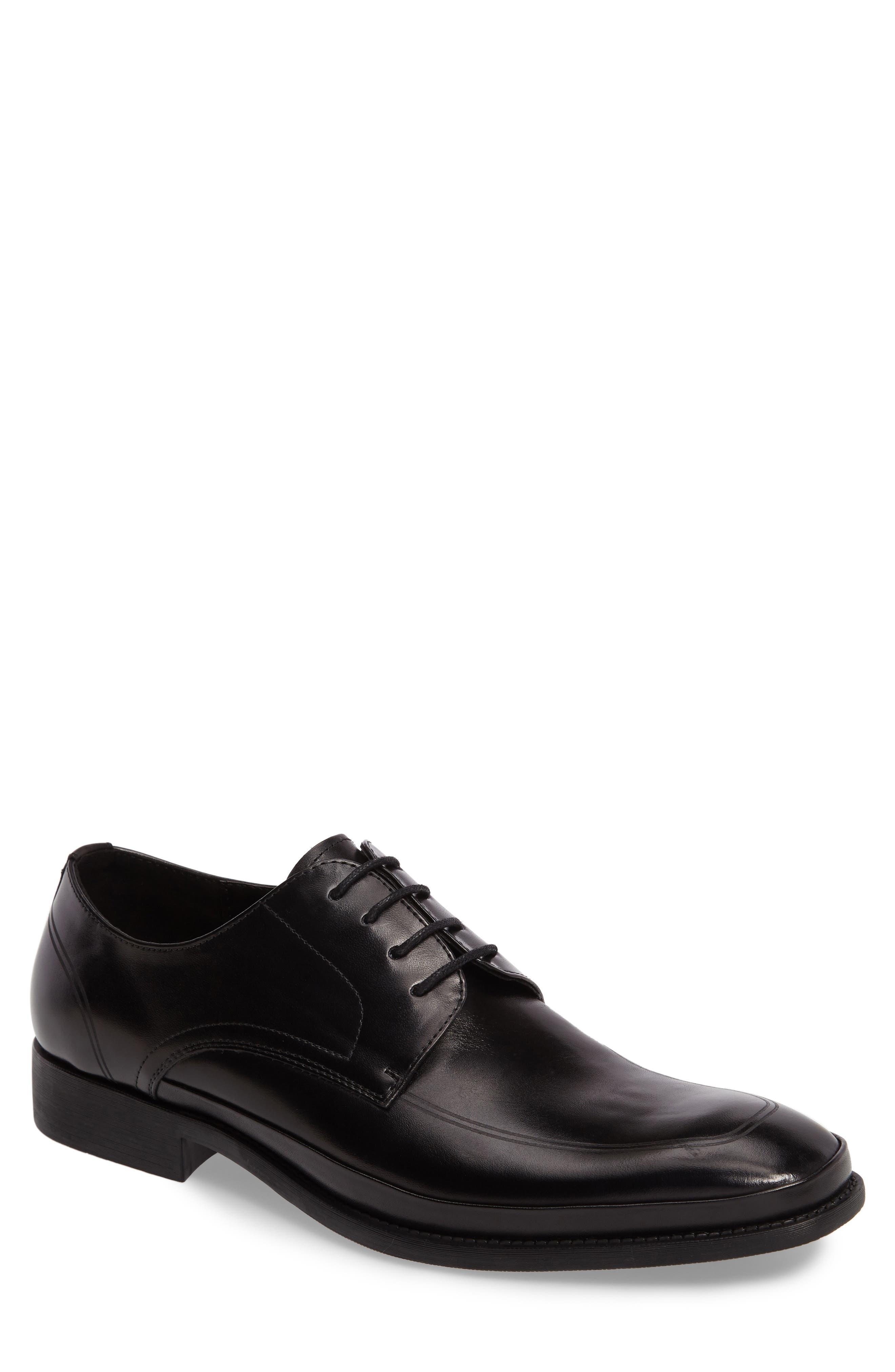 Brick Free Plain Toe Derby,                             Main thumbnail 1, color,                             Black Leather