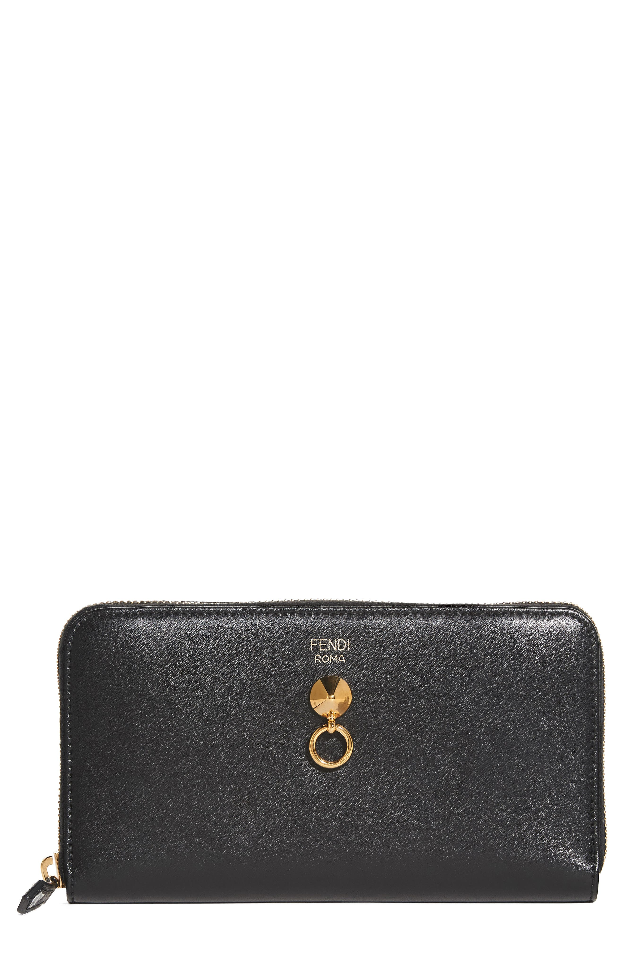 Liberty Leather Zip Around Wallet,                         Main,                         color, Black/Soft Gold