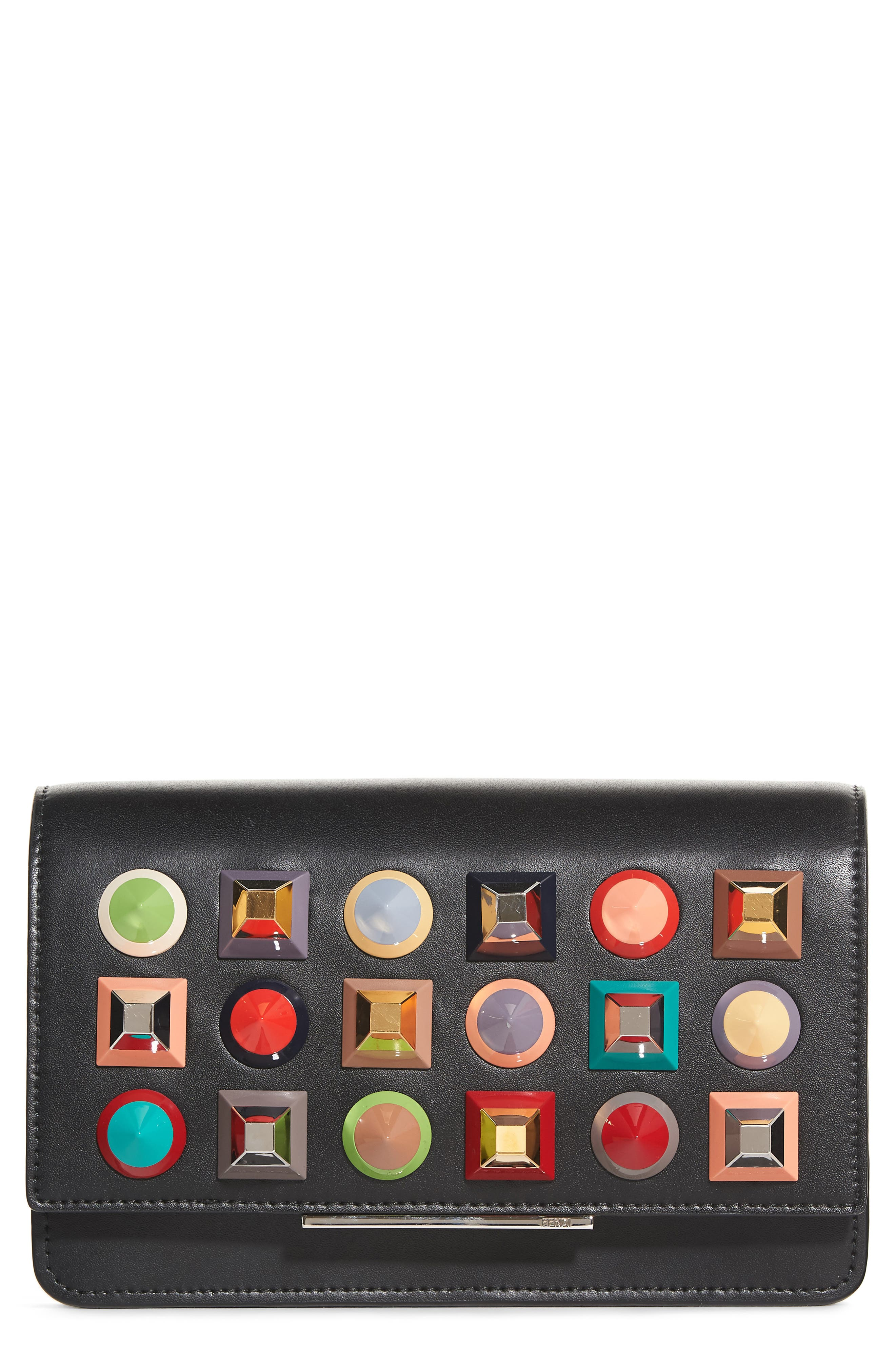 Rainbow Studded Leather Tube Wallet on a Chain,                         Main,                         color, Black Multi